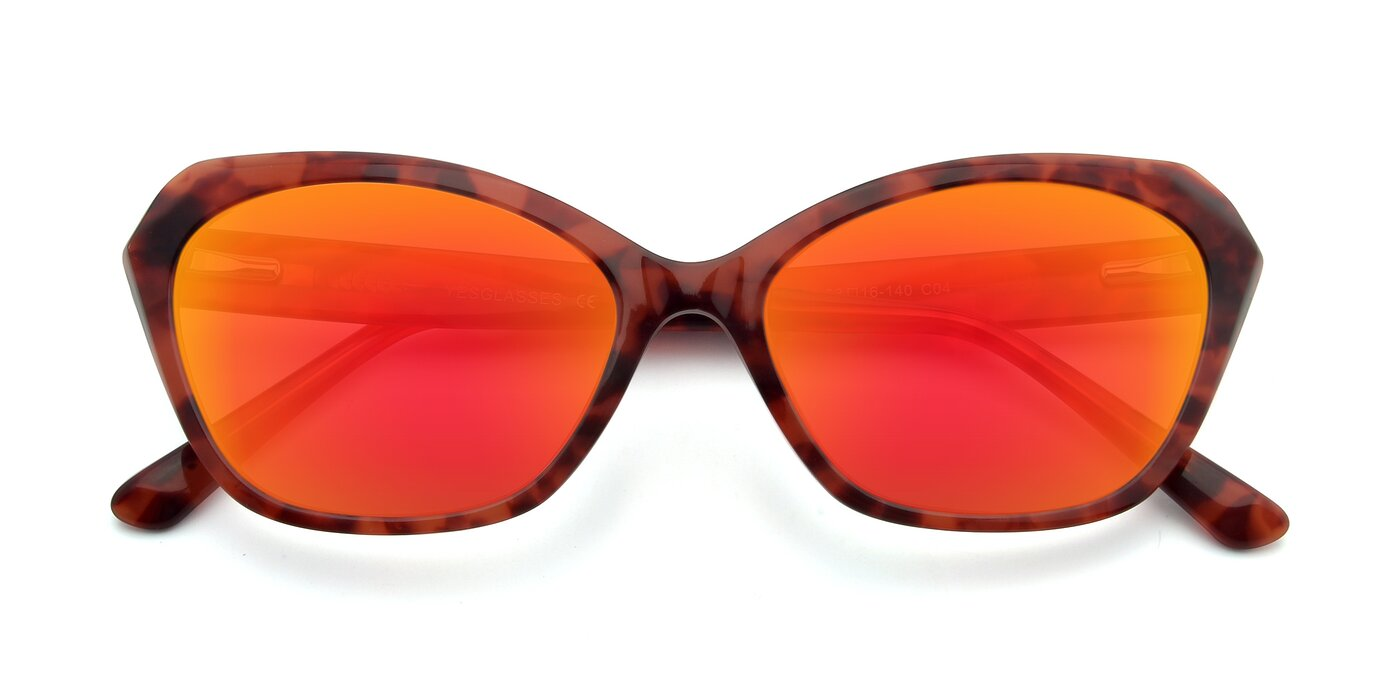 17351 - Floral Red Flash Mirrored Sunglasses