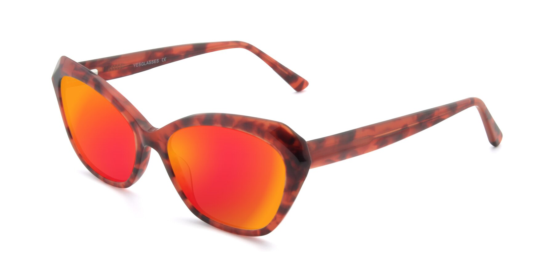 Angle of 17351 in Floral Red with Red Gold Mirrored Lenses