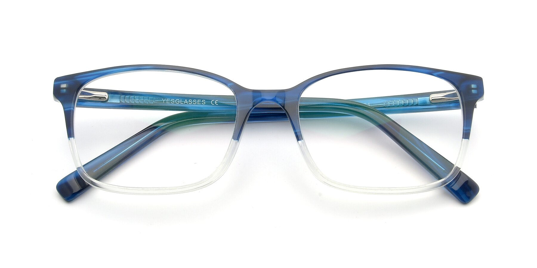 Folded Front of 17353 in Blue-Clear with Clear Eyeglass Lenses