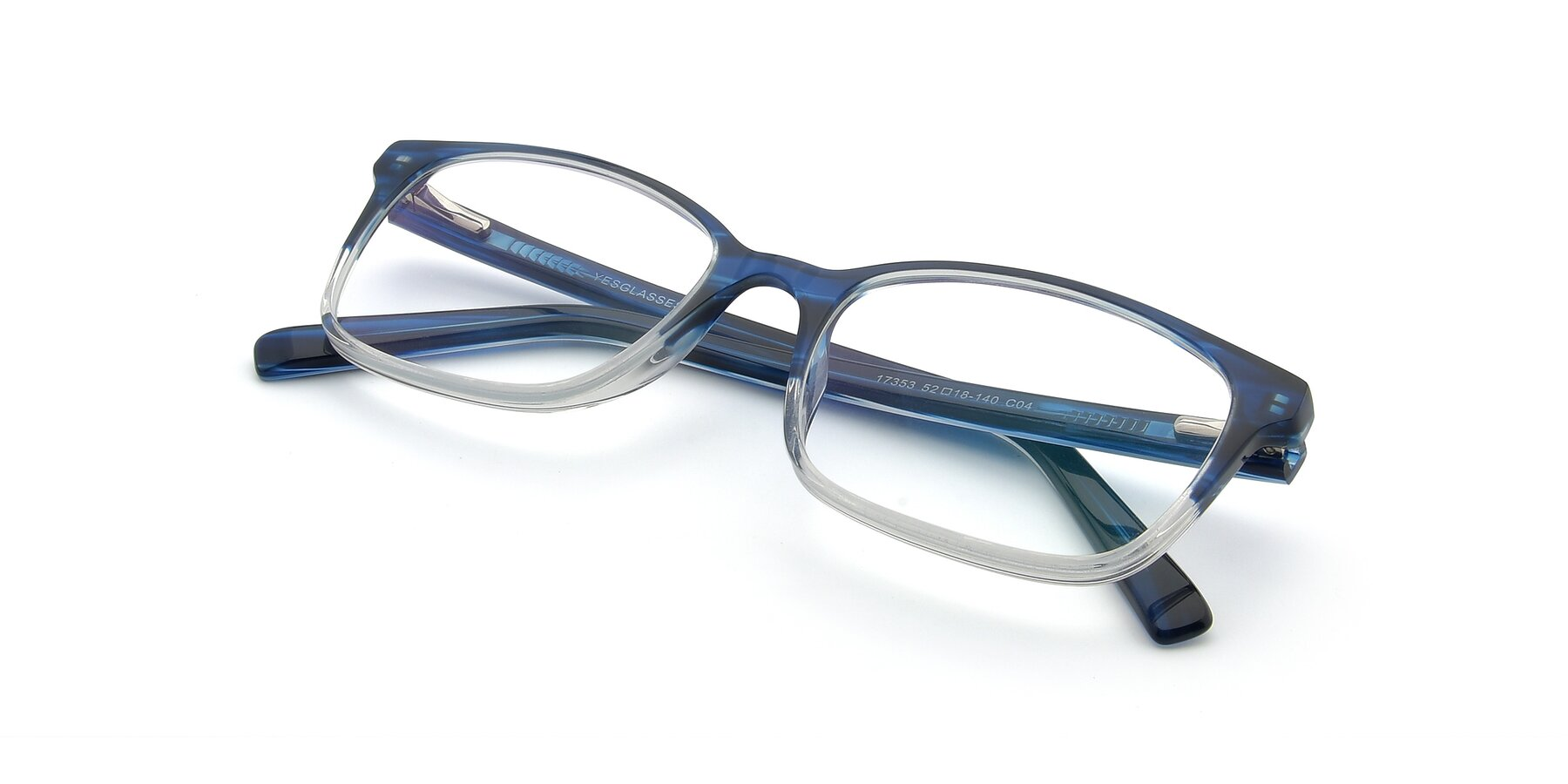 View of 17353 in Blue-Clear with Clear Eyeglass Lenses