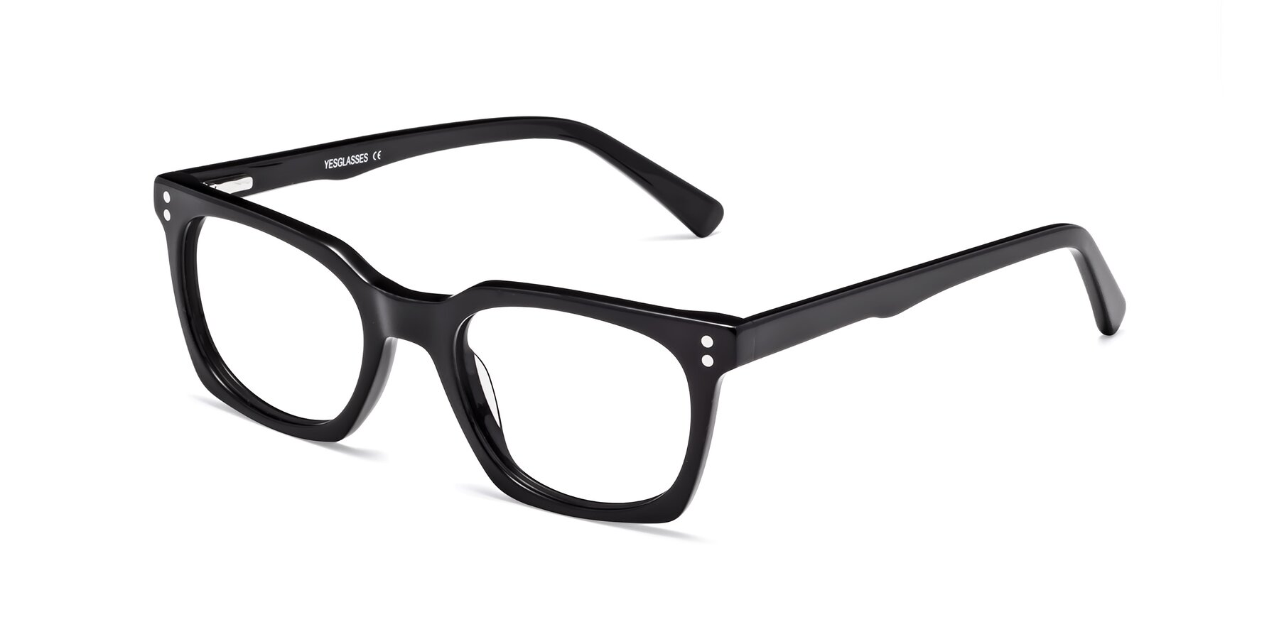 Angle of Medhi in Black with Clear Eyeglass Lenses