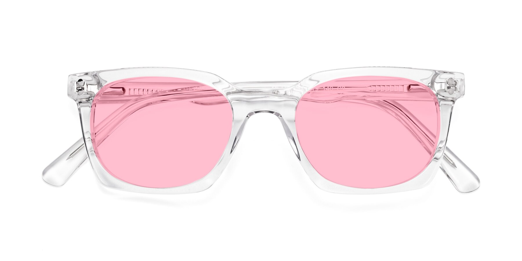 Folded Front of Medhi in Clear with Medium Pink Tinted Lenses