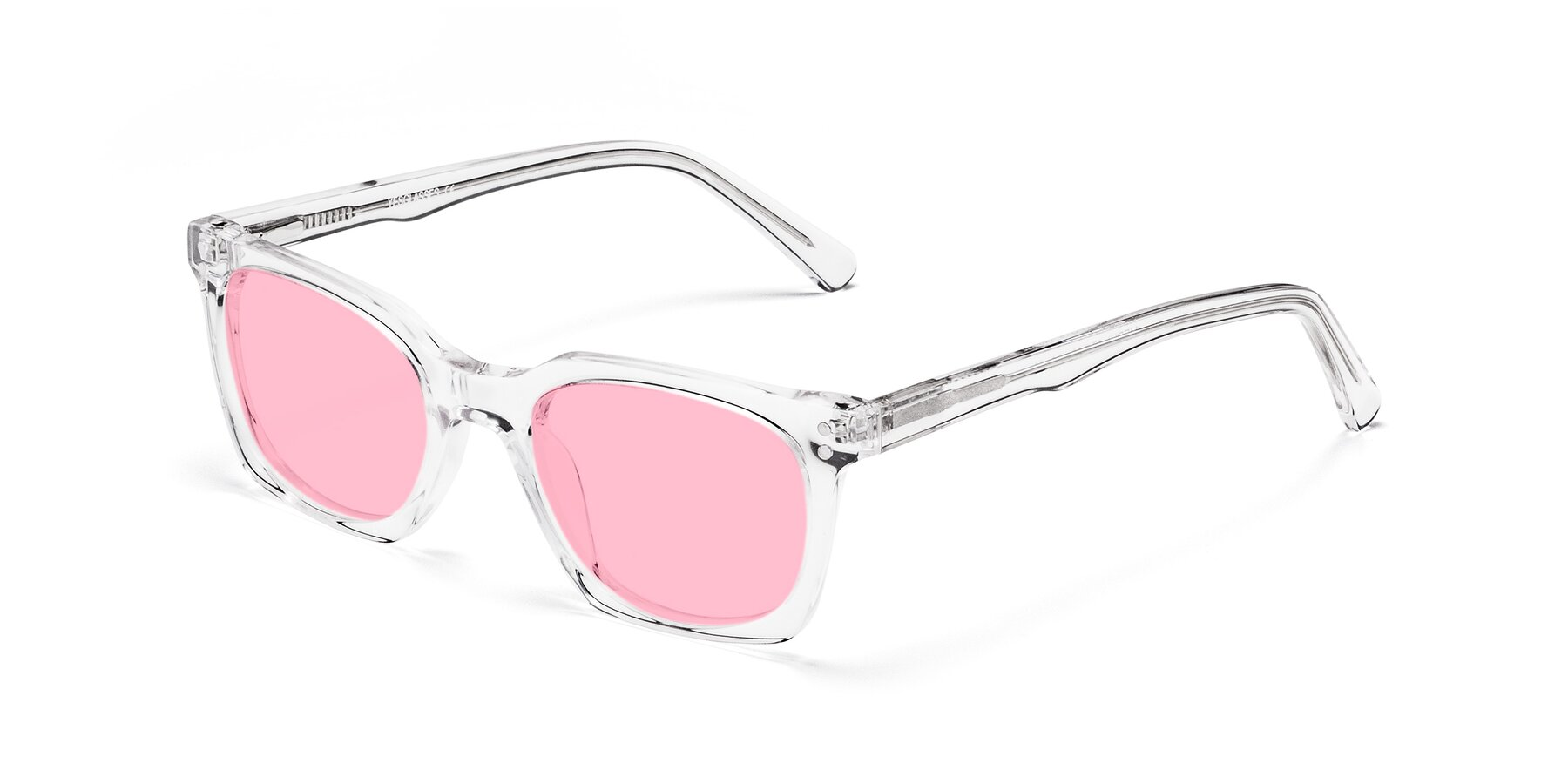 Angle of Medhi in Clear with Medium Pink Tinted Lenses