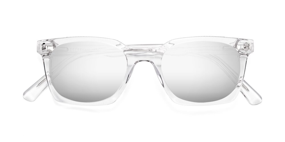 Clear Geek-Chic Square Geometric Mirrored Sunglasses With Silver Sunwear Lenses