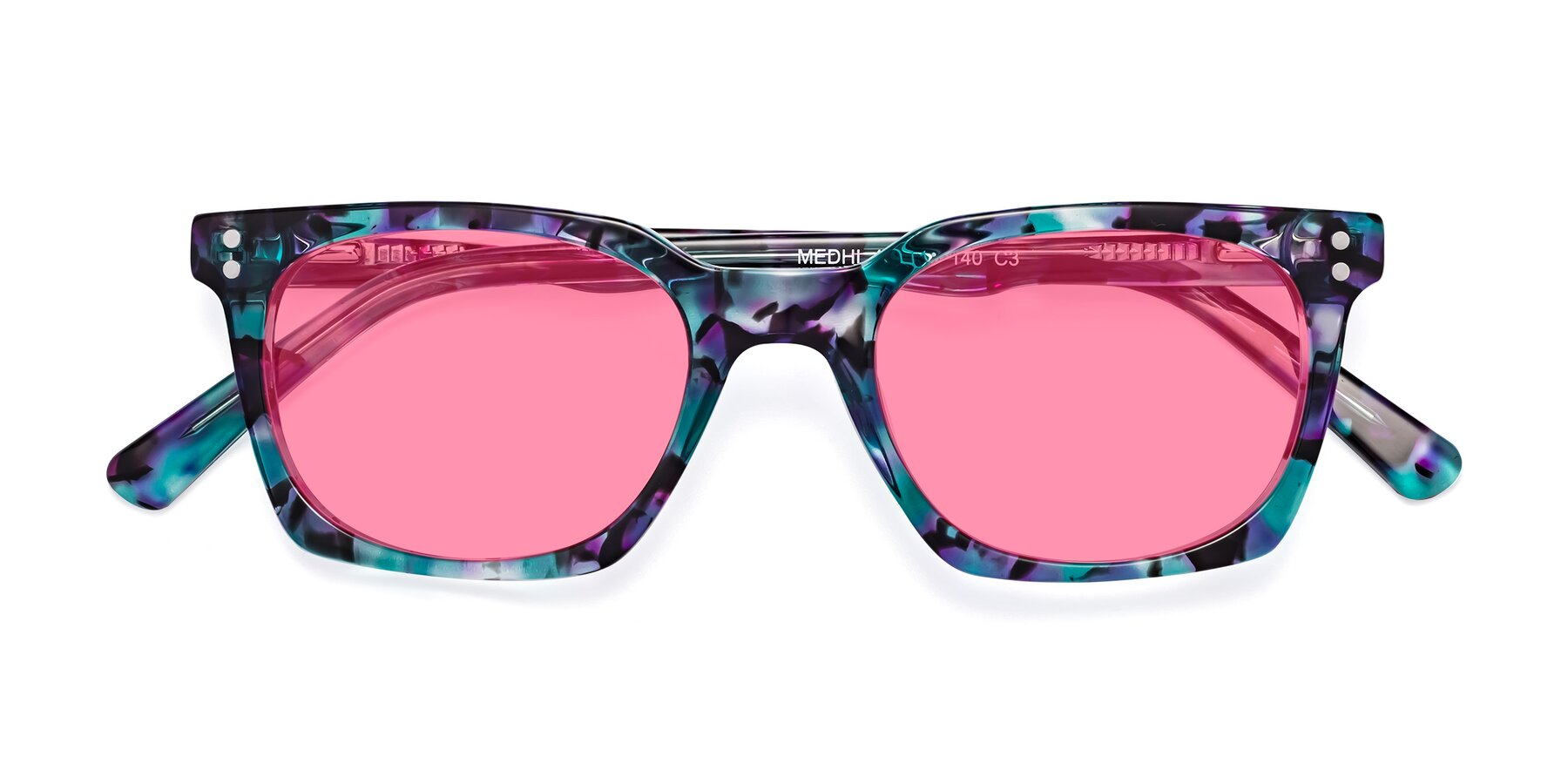 Folded Front of Medhi in Floral Blue with Pink Tinted Lenses