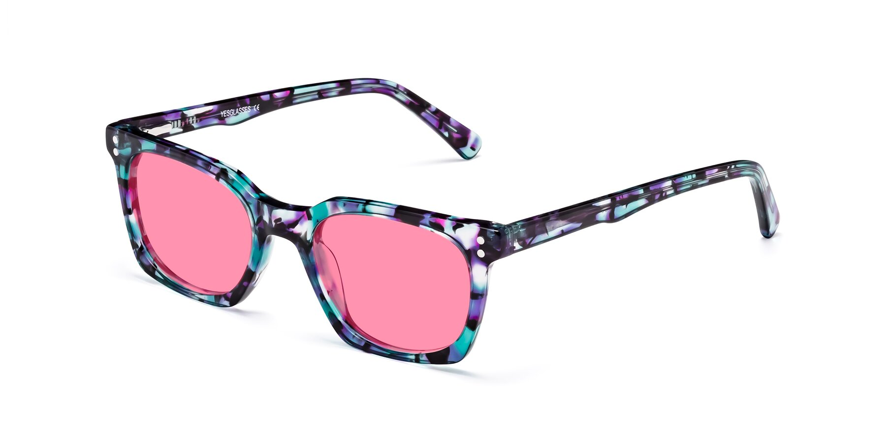 Angle of Medhi in Floral Blue with Pink Tinted Lenses