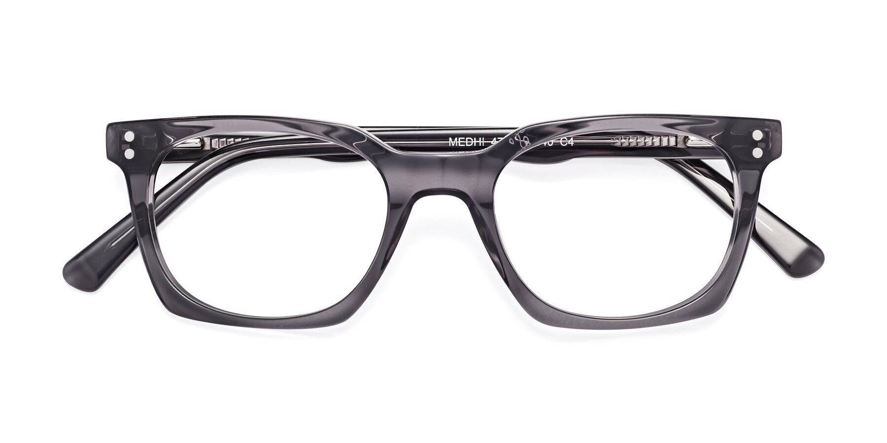Folded Front of 17355 in Transparent Gray with Clear Eyeglass Lenses
