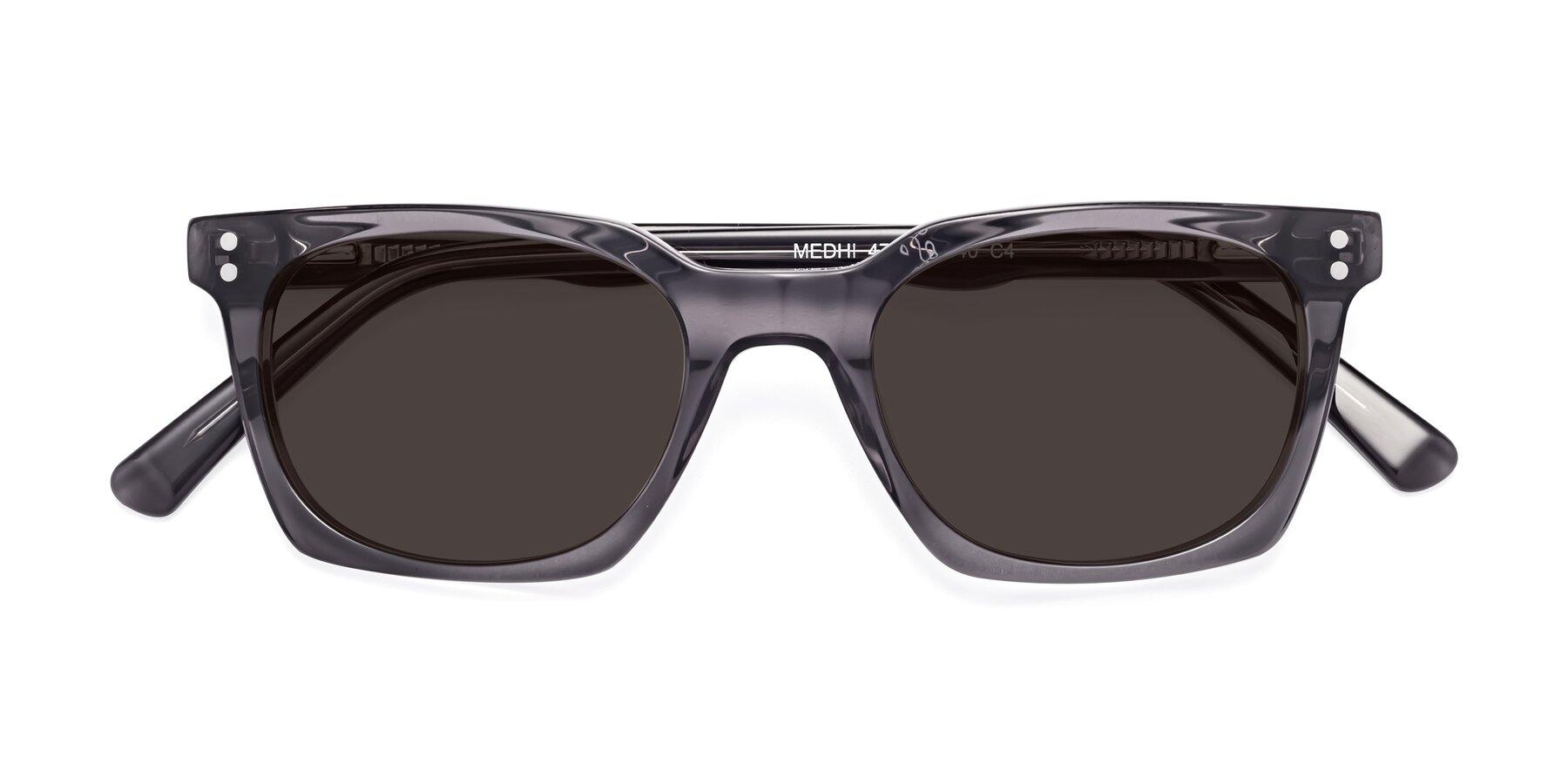 Folded Front of 17355 in Transparent Gray with Gray Tinted Lenses