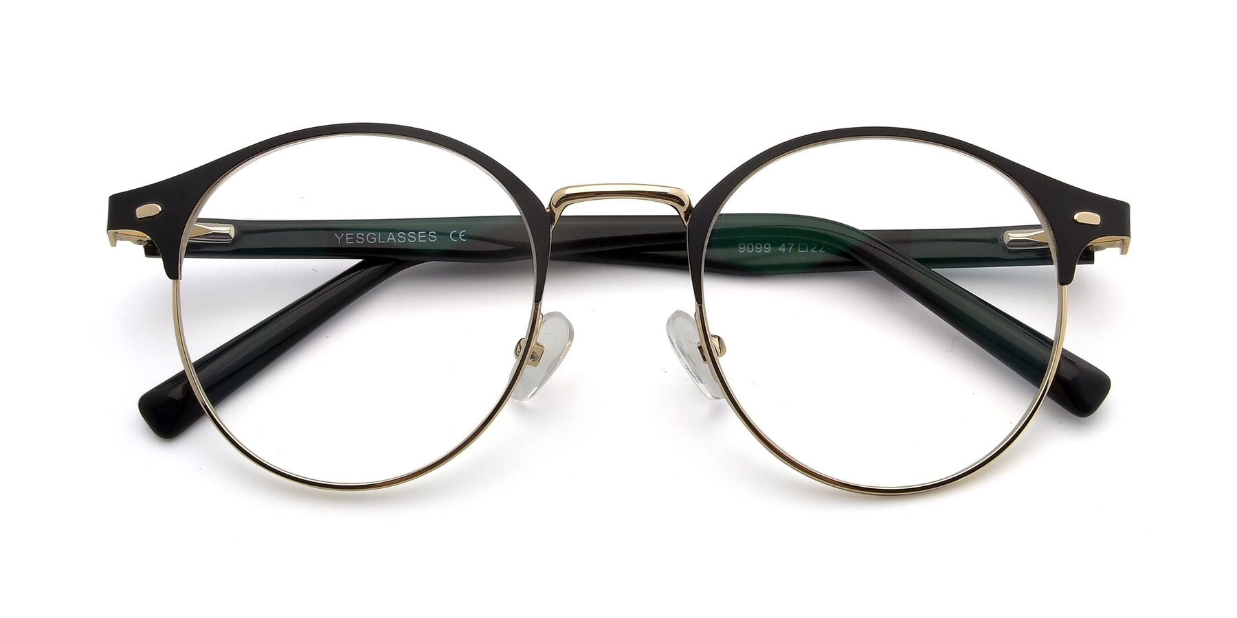Folded Front of 9099 in Black-Gold with Clear Eyeglass Lenses