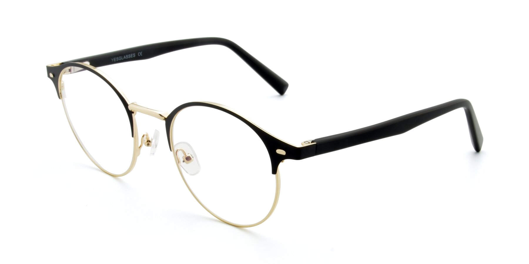Angle of 9099 in Black-Gold with Clear Eyeglass Lenses