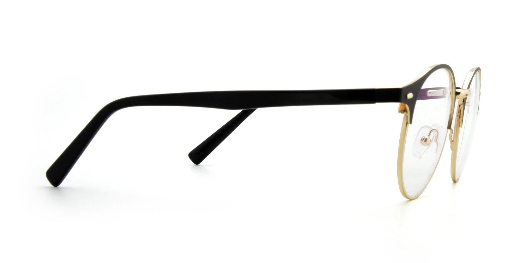 Side of 9099 in Black-Gold with Clear Eyeglass Lenses