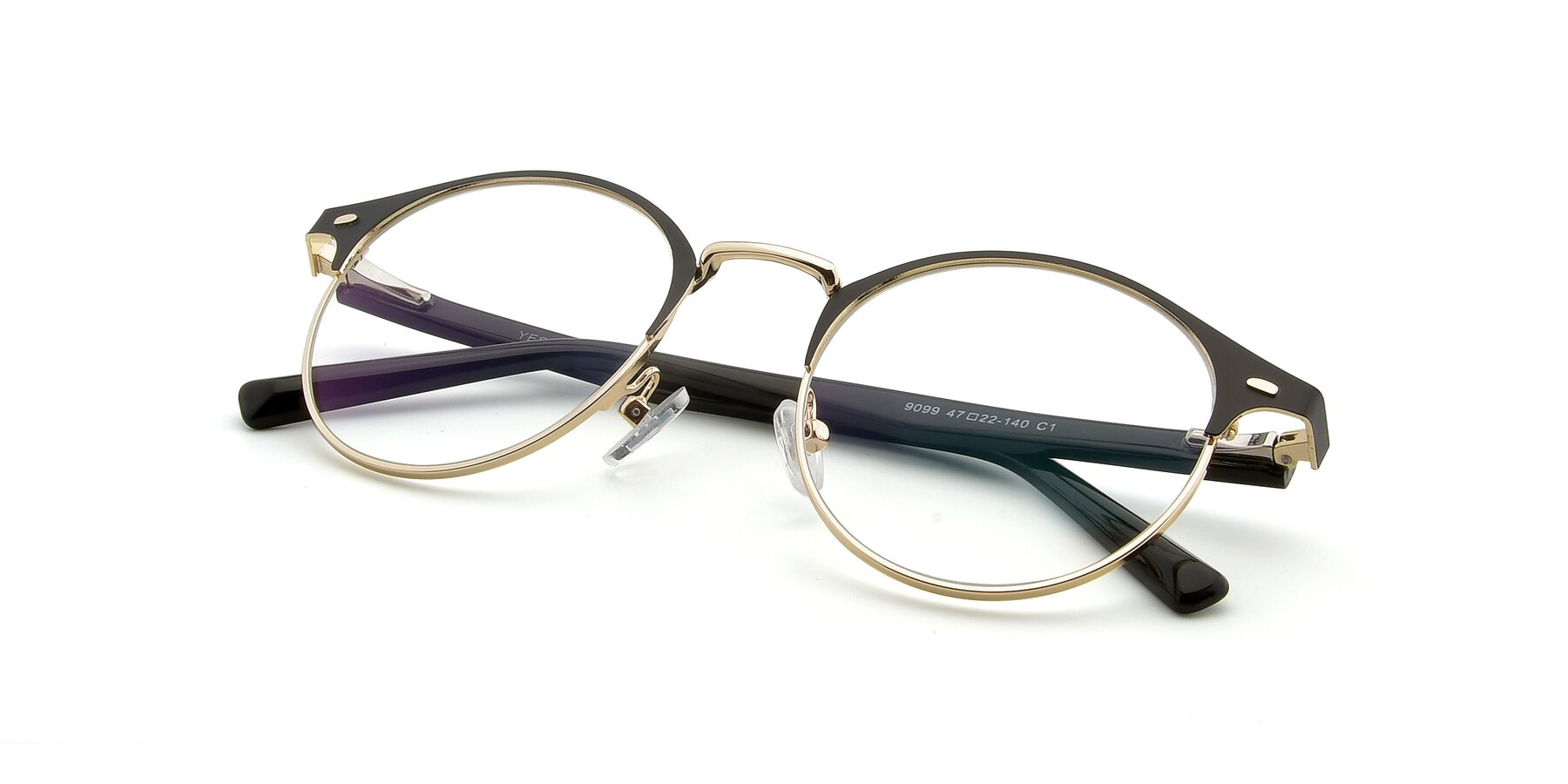 View of 9099 in Black-Gold with Clear Eyeglass Lenses