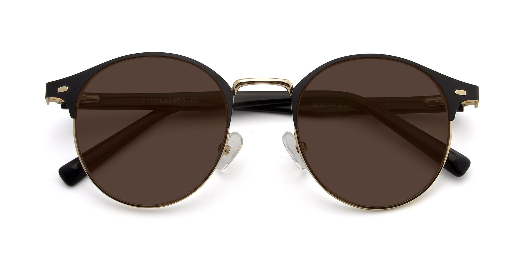 Folded Front of 9099 in Black-Gold with Brown Tinted Lenses