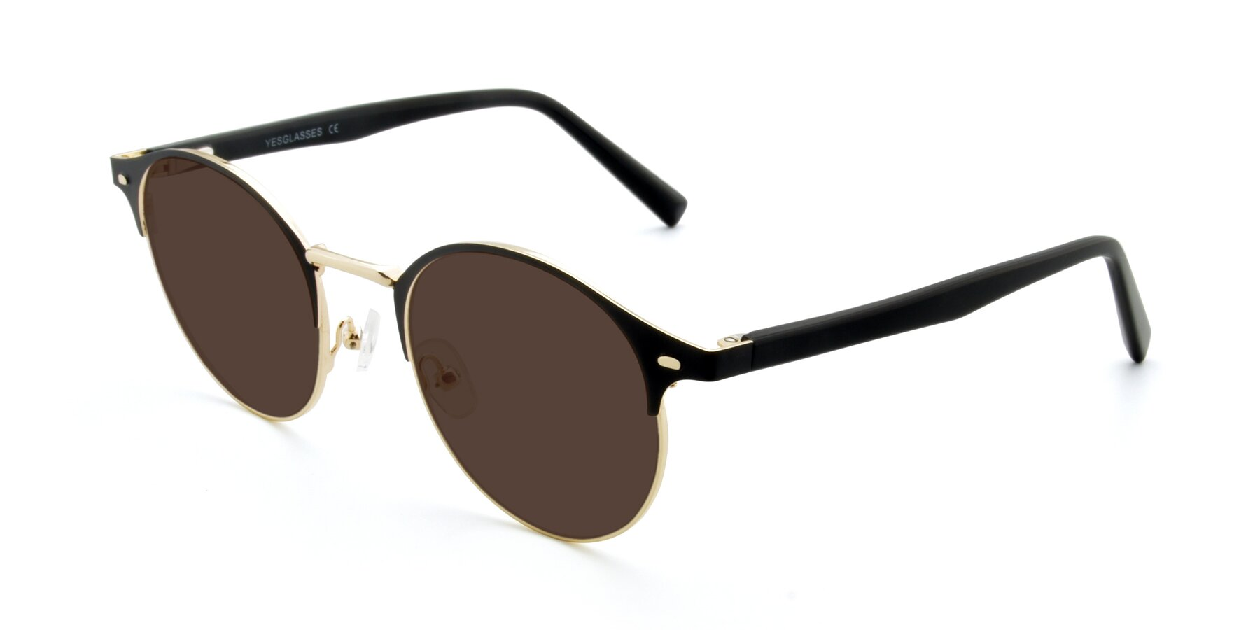 Angle of 9099 in Black-Gold with Brown Tinted Lenses