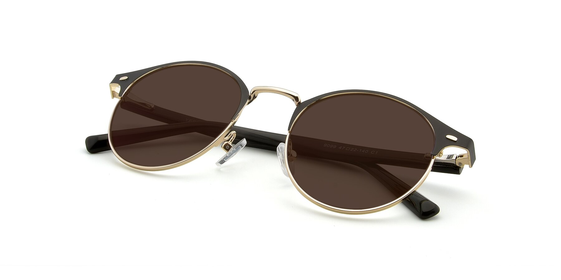 View of 9099 in Black-Gold with Brown Tinted Lenses