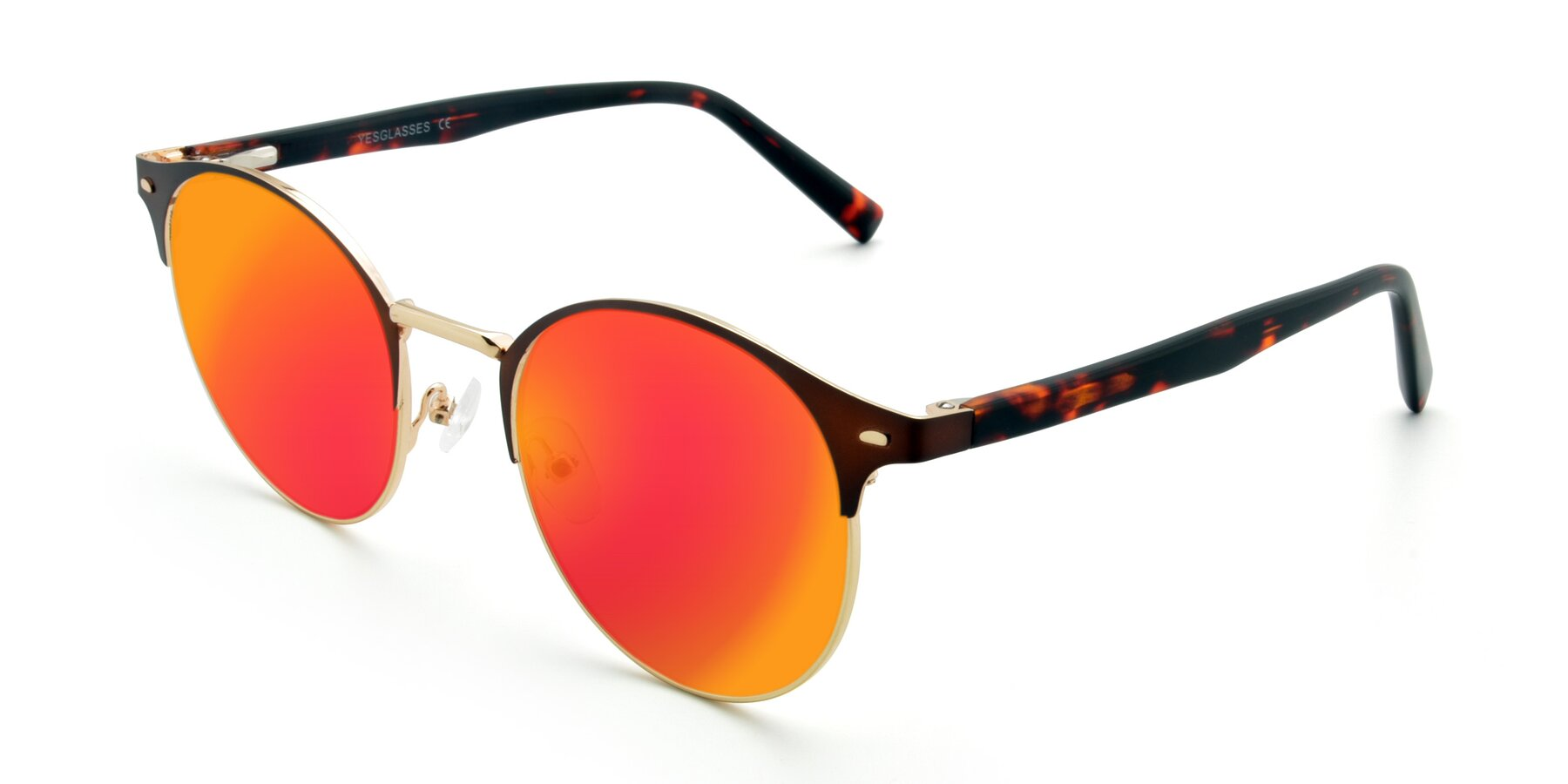 Angle of 9099 in Brown-Gold with Red Gold Mirrored Lenses