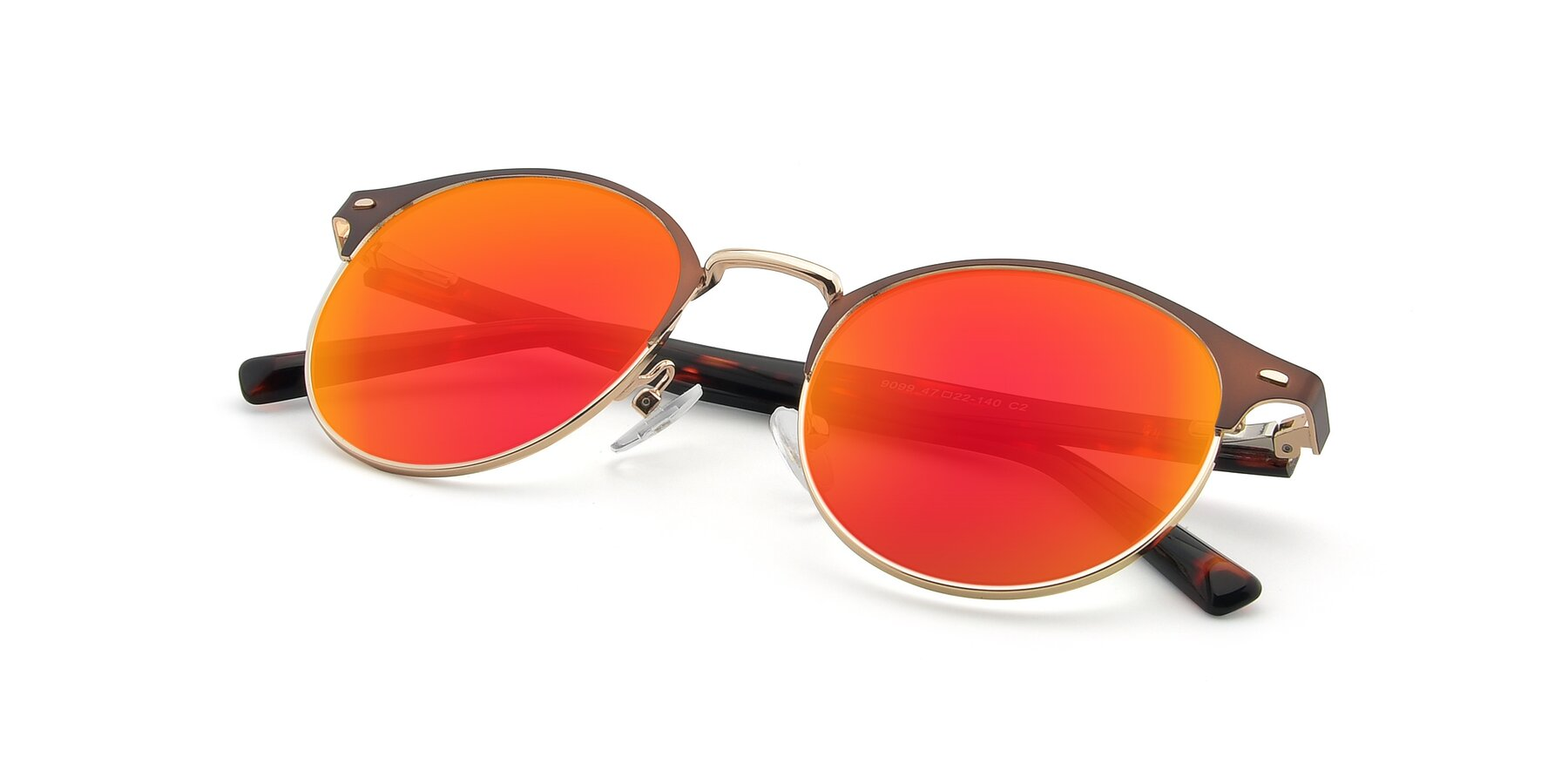 View of 9099 in Brown-Gold with Red Gold Mirrored Lenses