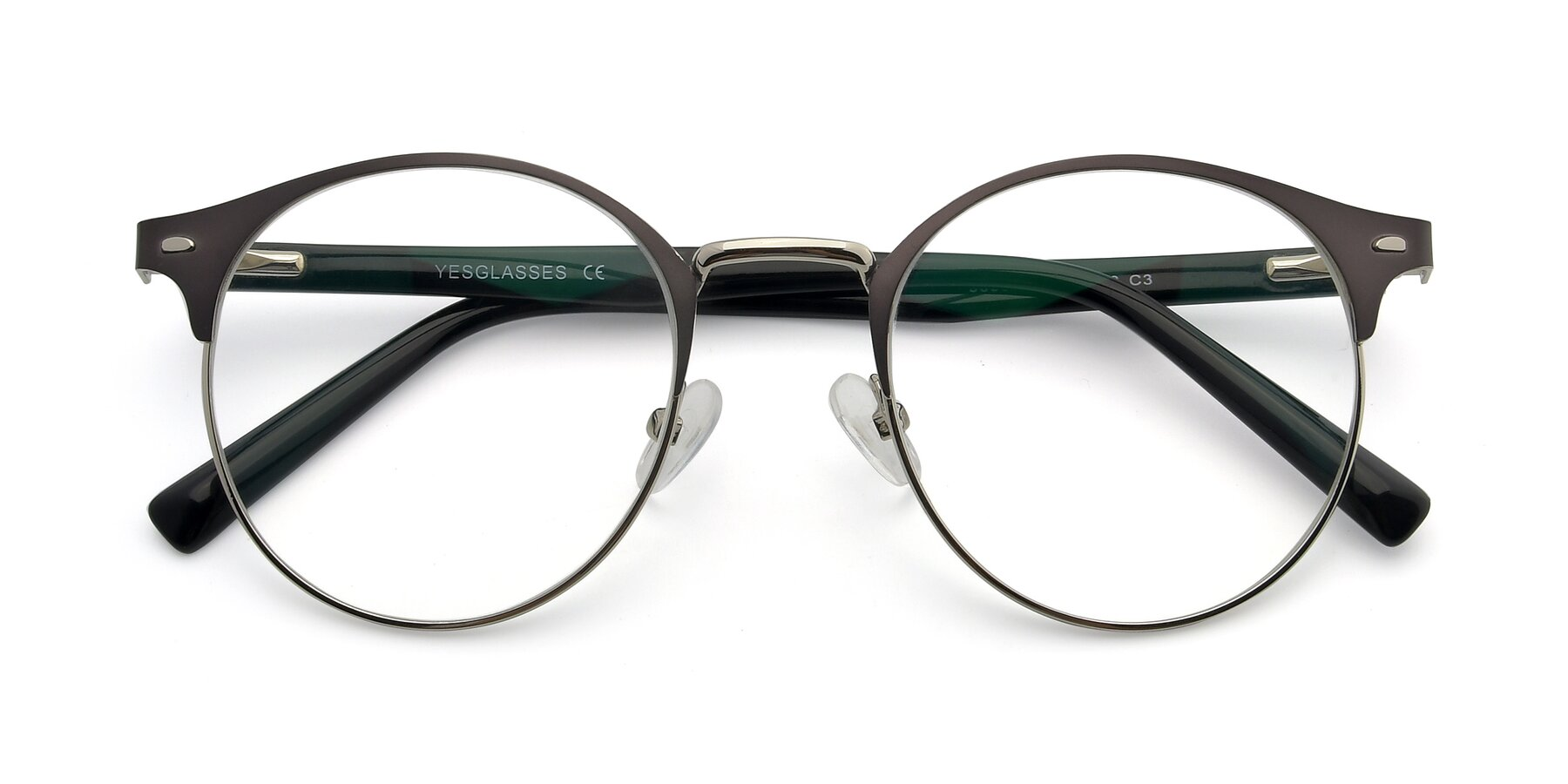 Folded Front of 9099 in Gray-Silver with Clear Eyeglass Lenses