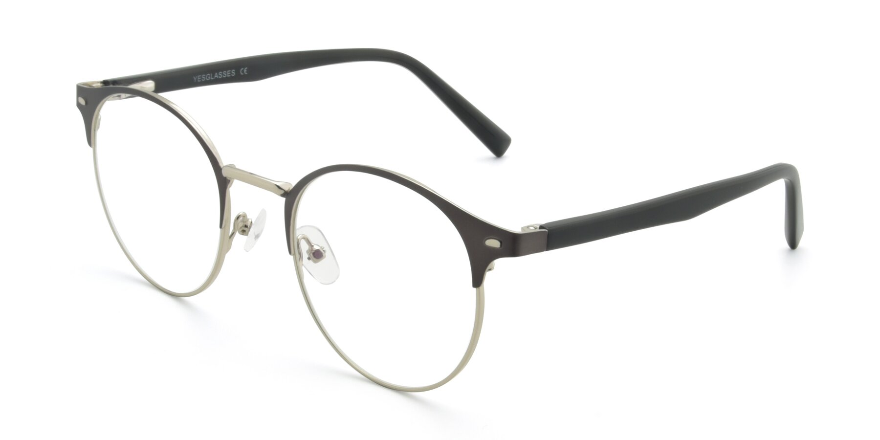 Angle of 9099 in Gray-Silver with Clear Eyeglass Lenses