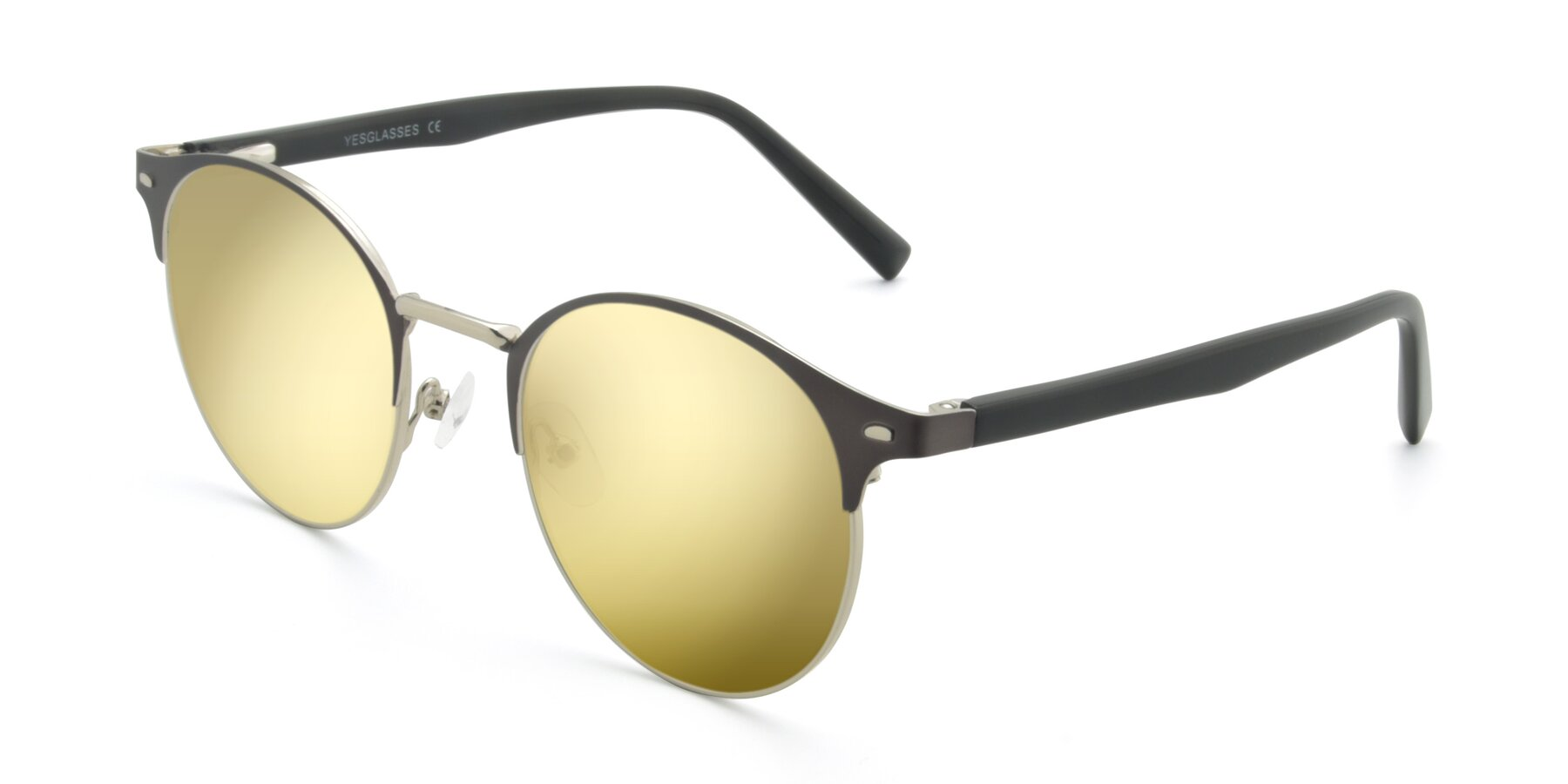 Angle of 9099 in Gray-Silver with Gold Mirrored Lenses
