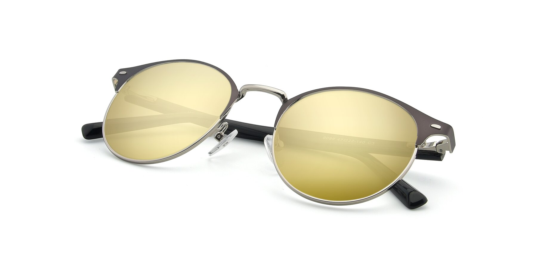 View of 9099 in Gray-Silver with Gold Mirrored Lenses