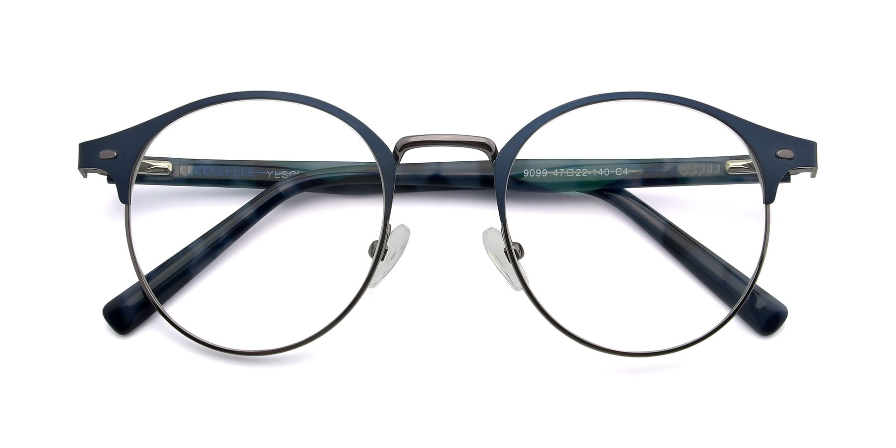 Folded Front of 9099 in Blue-Gunmetal with Clear Eyeglass Lenses
