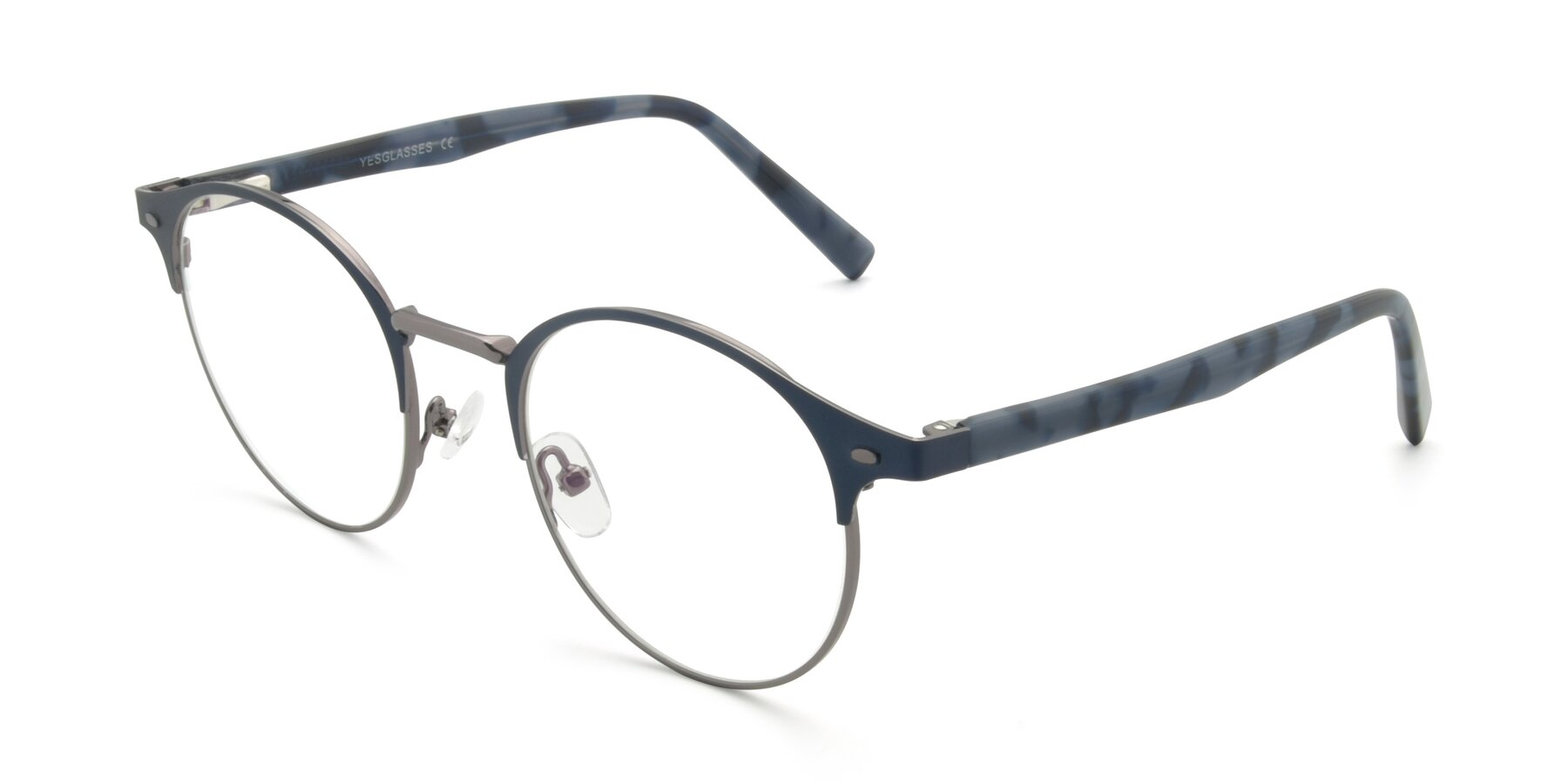 Angle of 9099 in Blue-Gunmetal with Clear Eyeglass Lenses