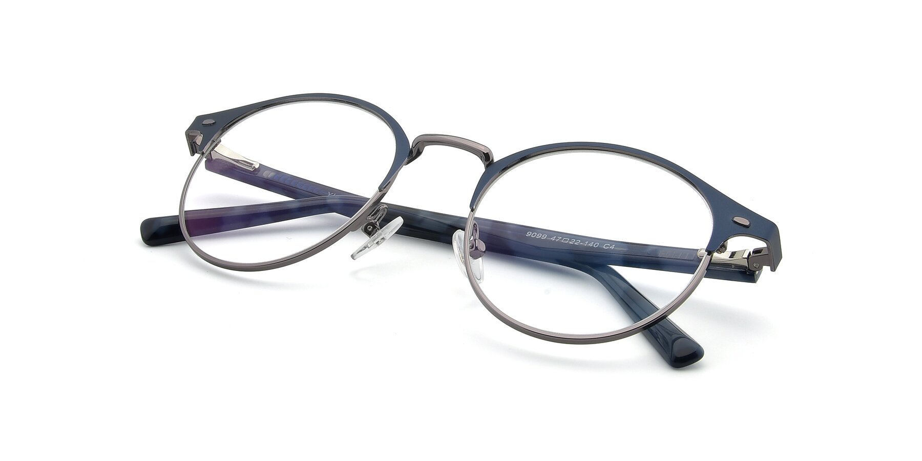 View of 9099 in Blue-Gunmetal with Clear Eyeglass Lenses