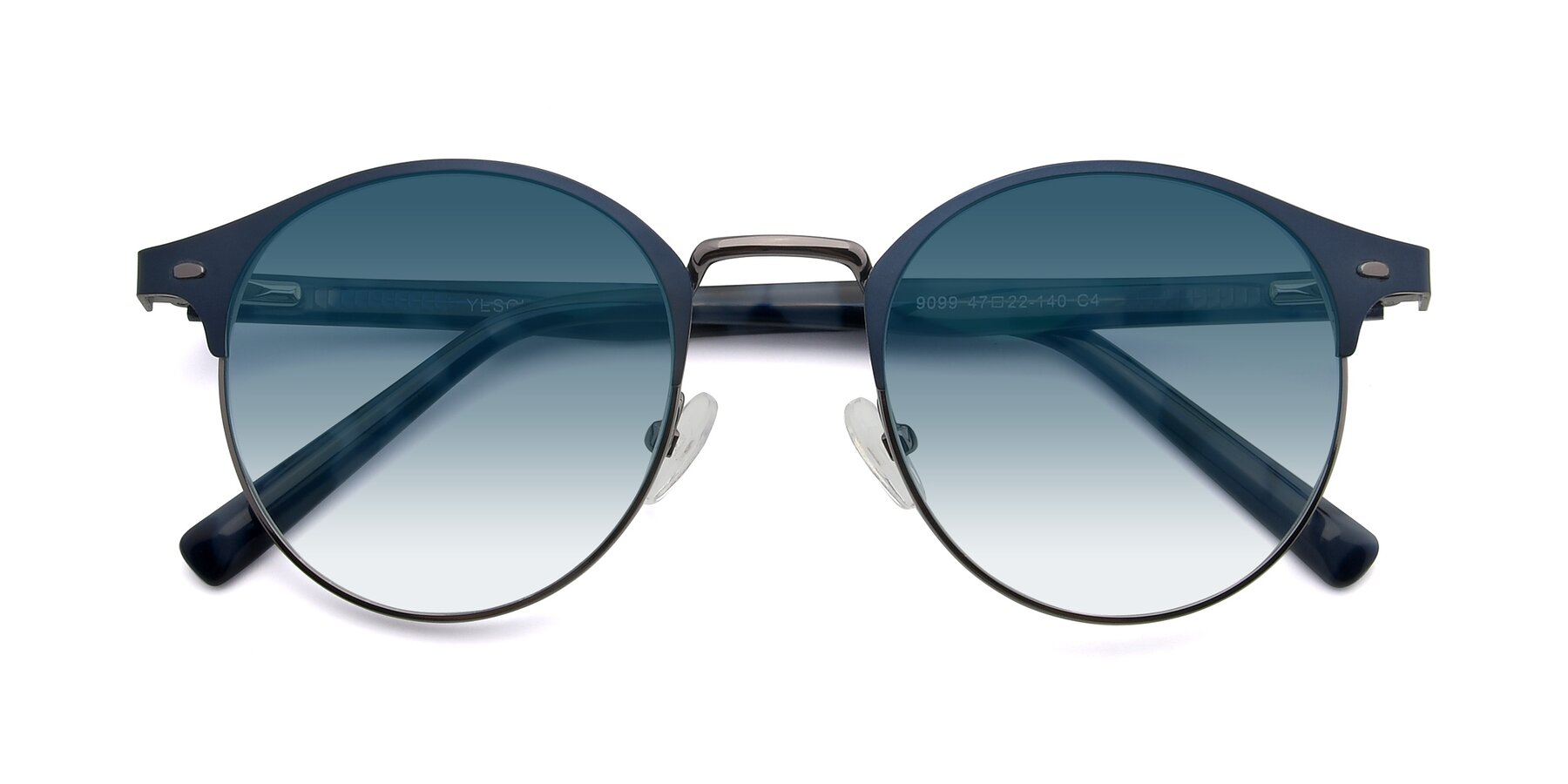 Folded Front of 9099 in Blue-Gunmetal with Blue Gradient Lenses