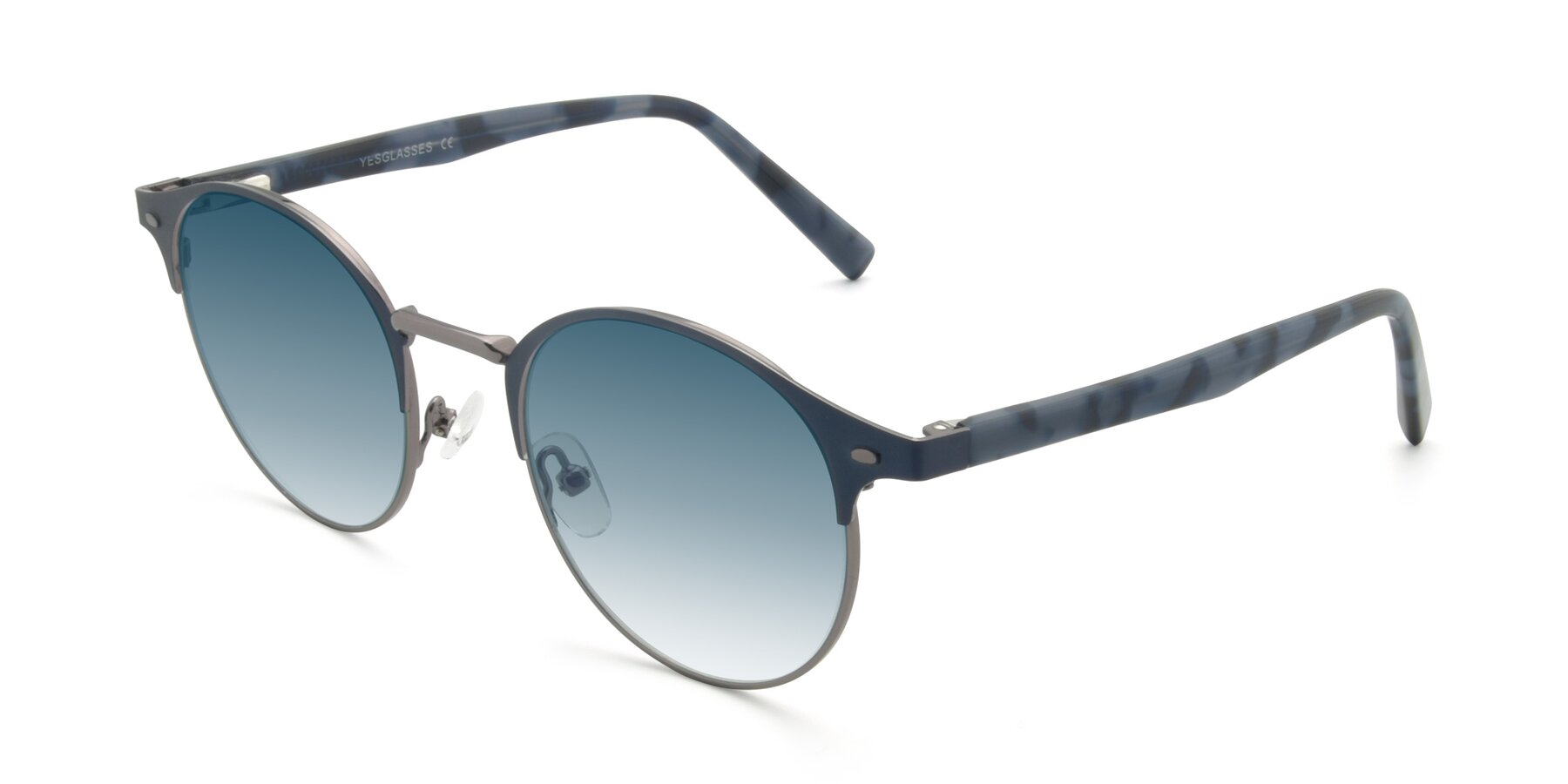 Angle of 9099 in Blue-Gunmetal with Blue Gradient Lenses