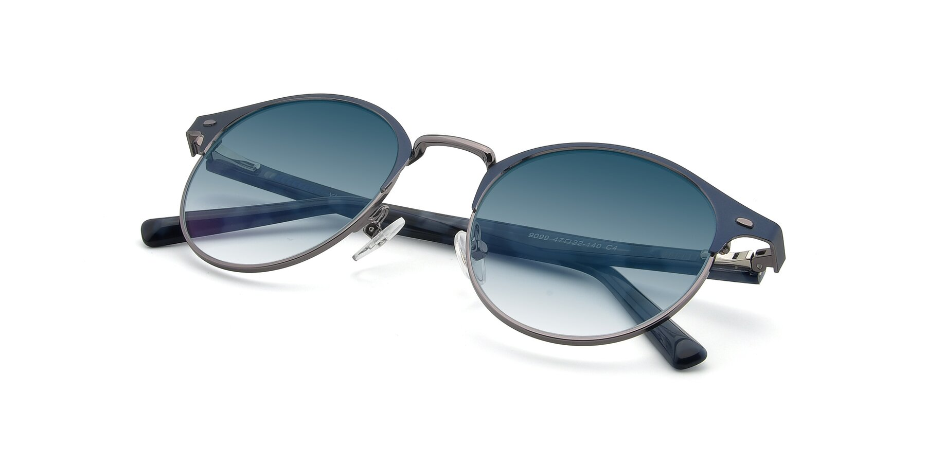 View of 9099 in Blue-Gunmetal with Blue Gradient Lenses