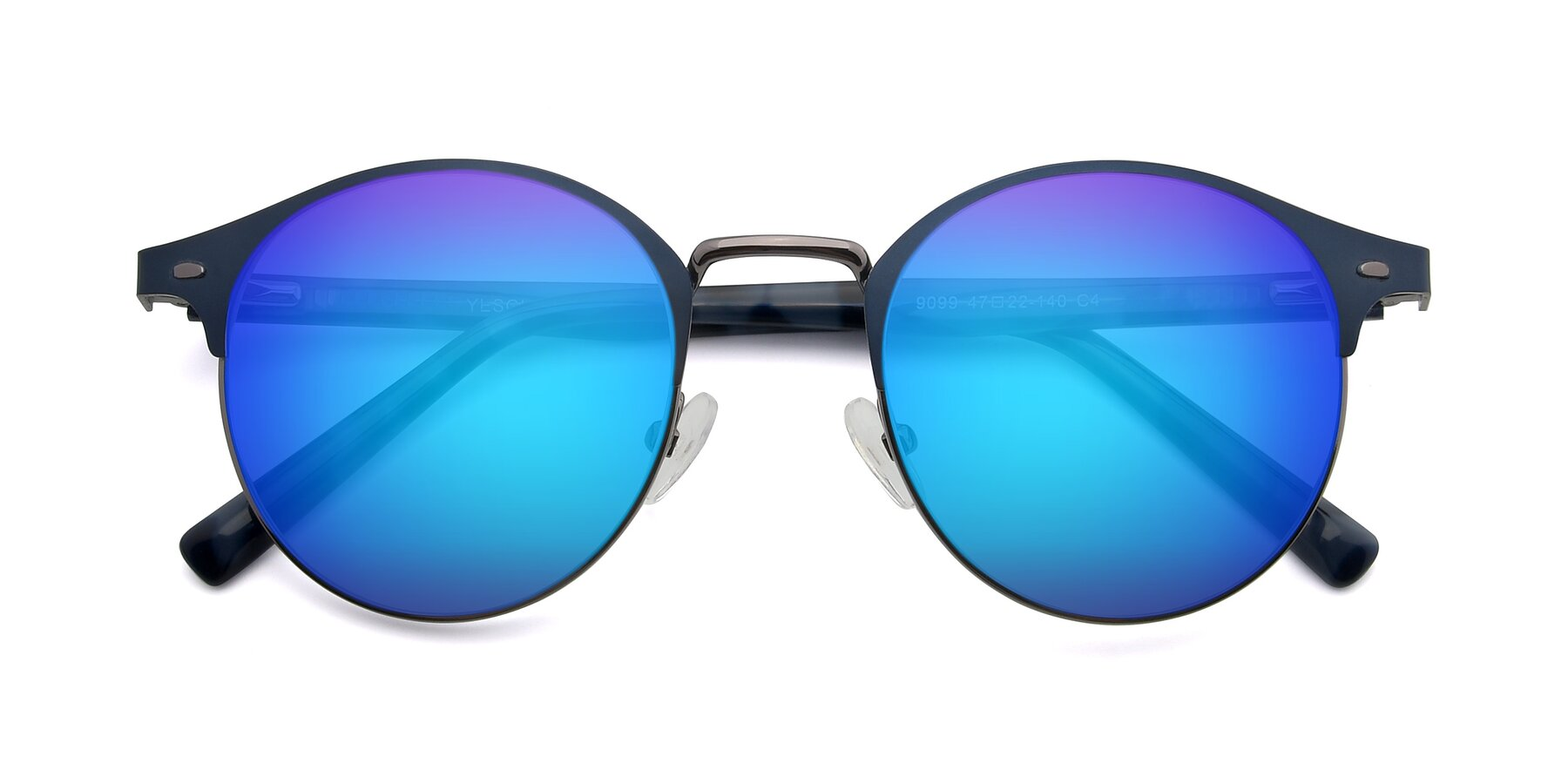 Folded Front of 9099 in Blue-Gunmetal with Blue Mirrored Lenses