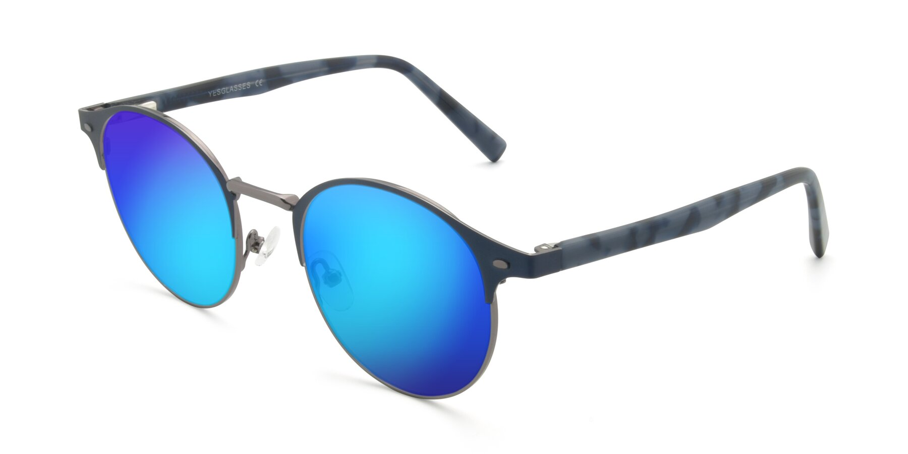 Angle of 9099 in Blue-Gunmetal with Blue Mirrored Lenses
