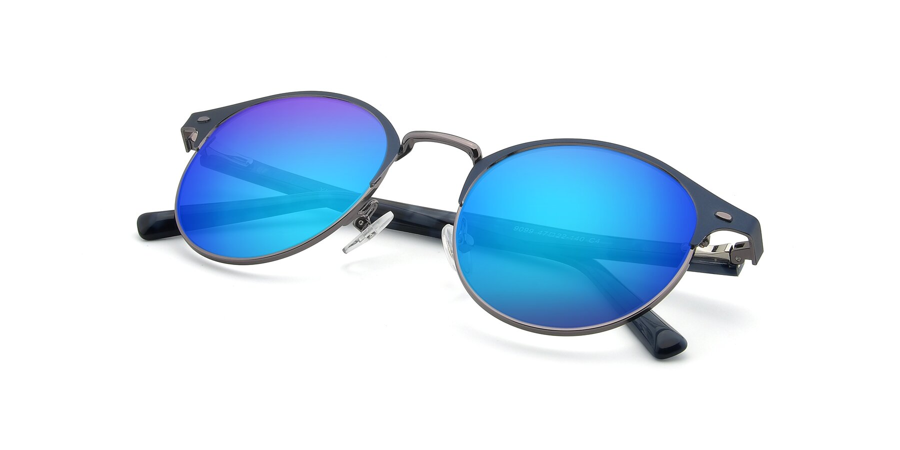 View of 9099 in Blue-Gunmetal with Blue Mirrored Lenses