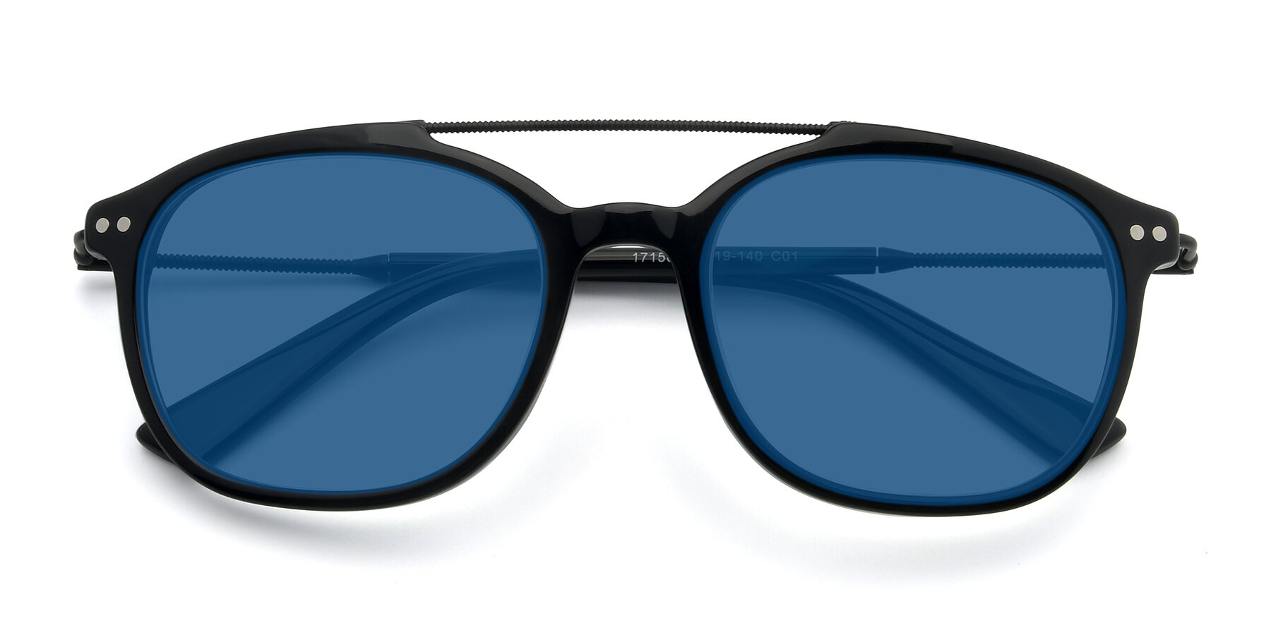 Folded Front of 17150 in Black with Blue Tinted Lenses