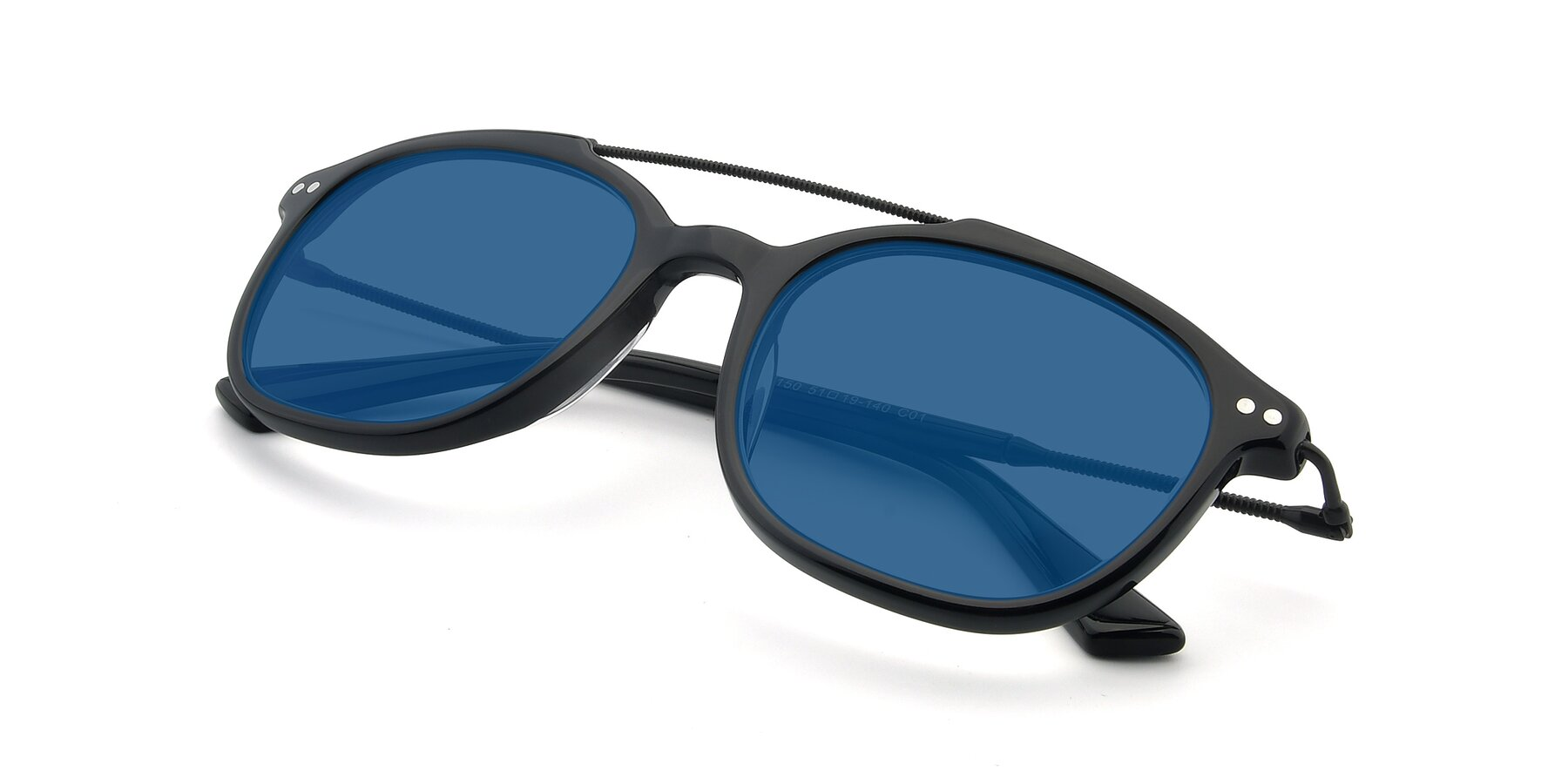 View of 17150 in Black with Blue Tinted Lenses