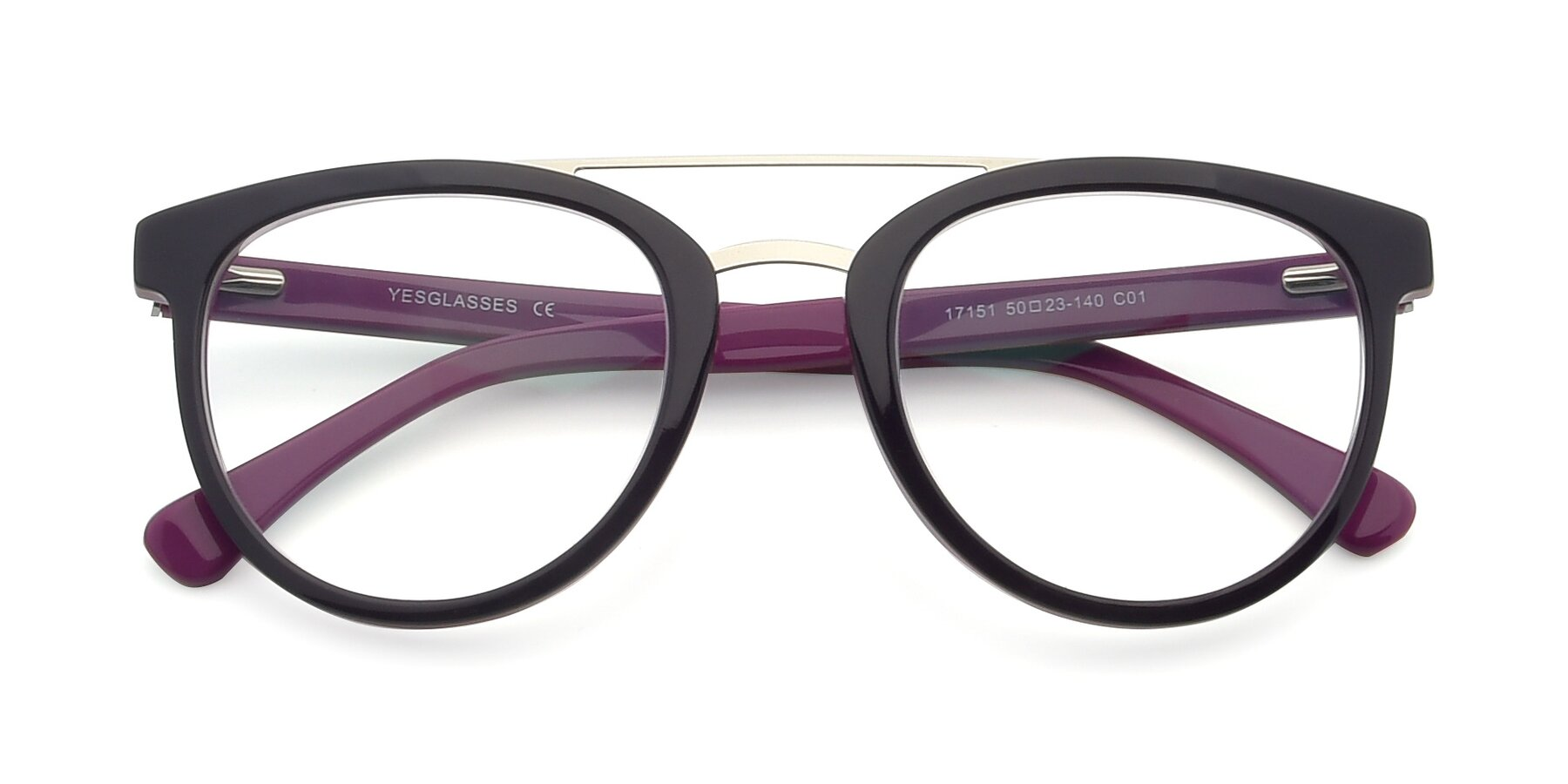 Folded Front of 17151 in Burgundy-Silver with Clear Eyeglass Lenses
