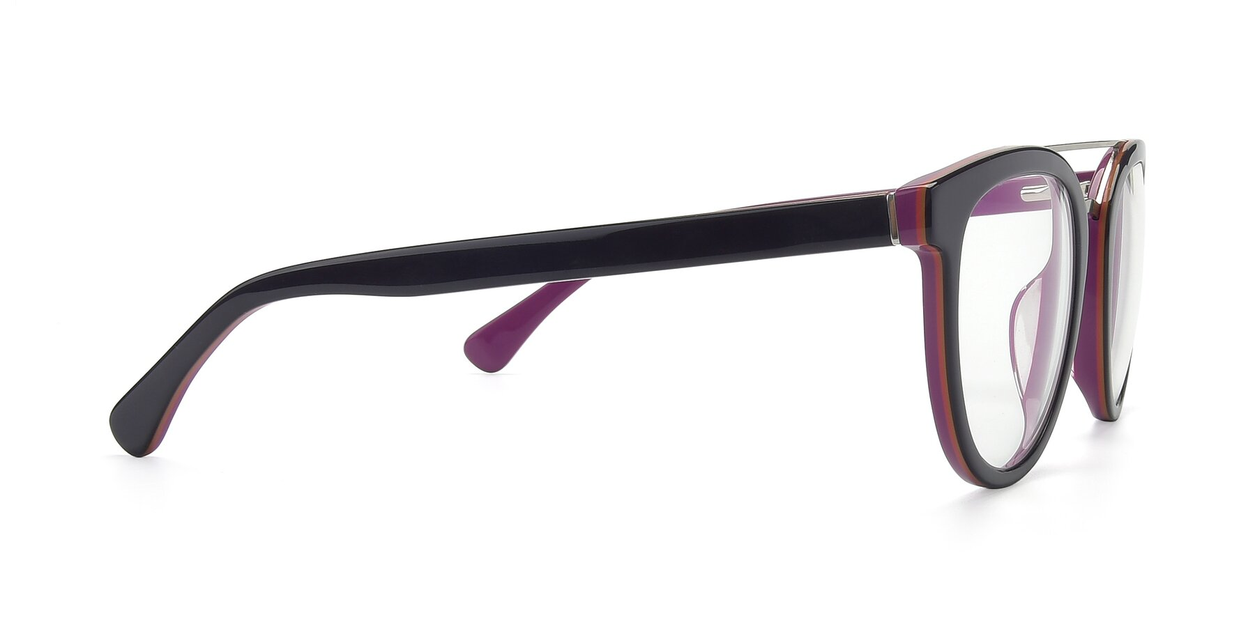 Side of 17151 in Burgundy-Silver with Clear Eyeglass Lenses