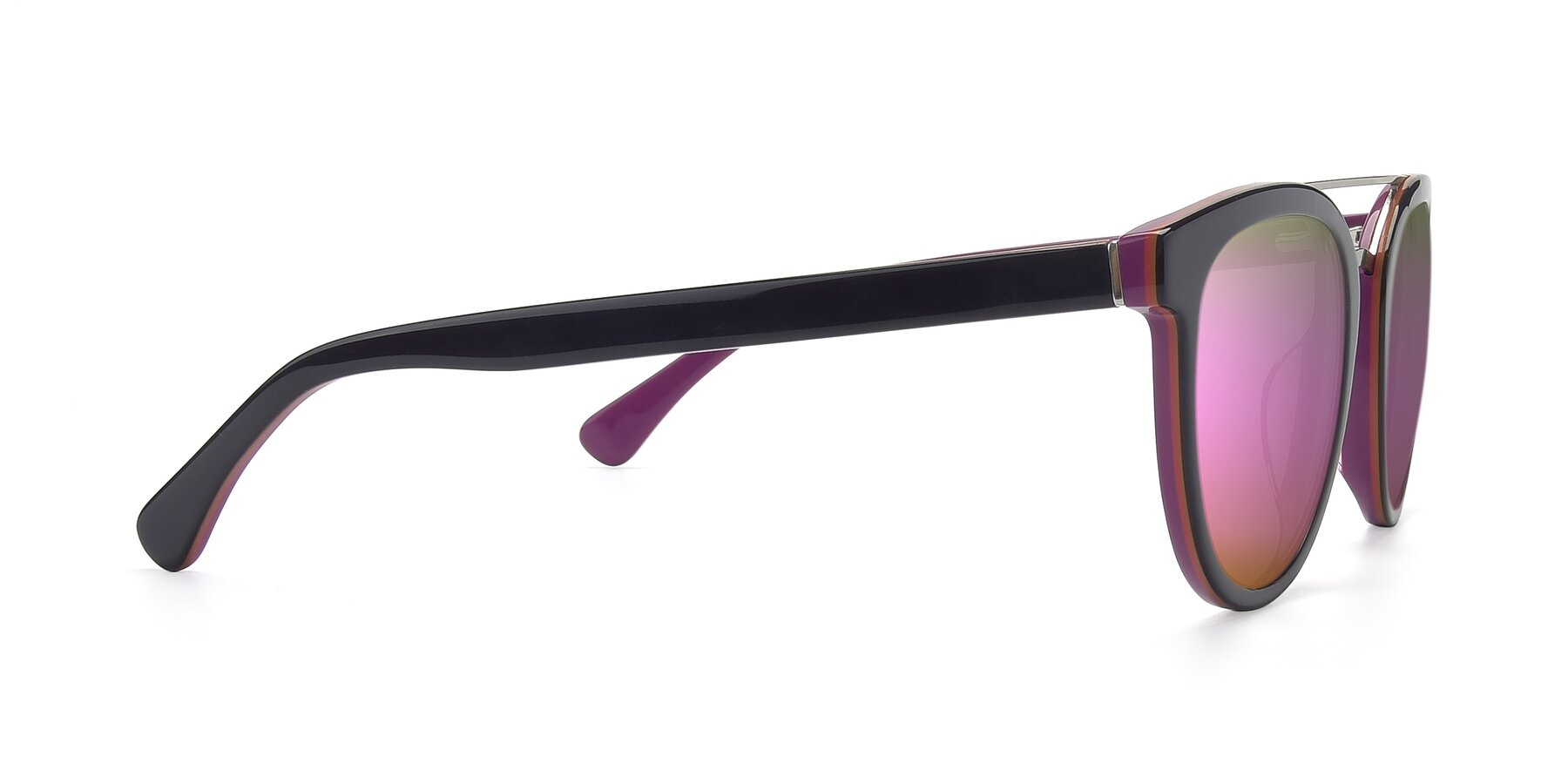 Side of 17151 in Burgundy-Silver with Pink Mirrored Lenses