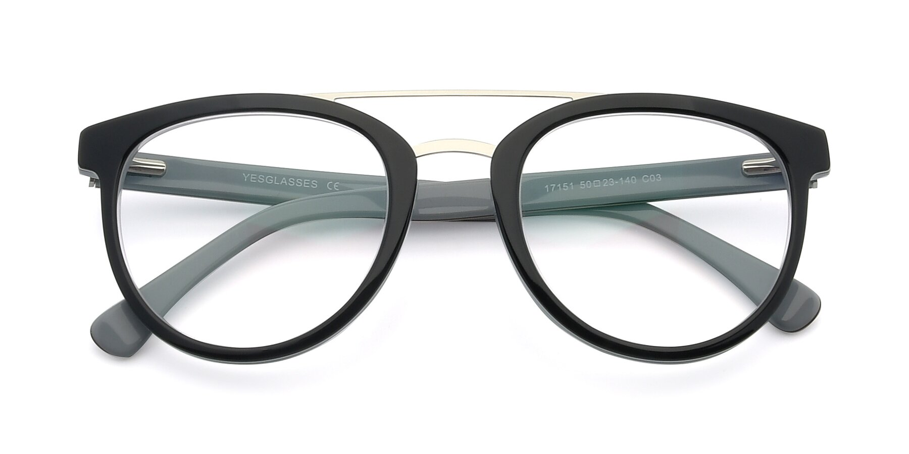 Folded Front of 17151 in Black-Silver with Clear Eyeglass Lenses
