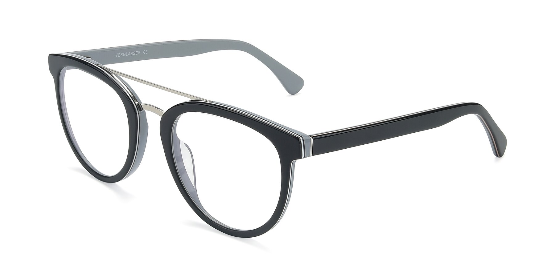 Angle of 17151 in Black-Silver with Clear Eyeglass Lenses
