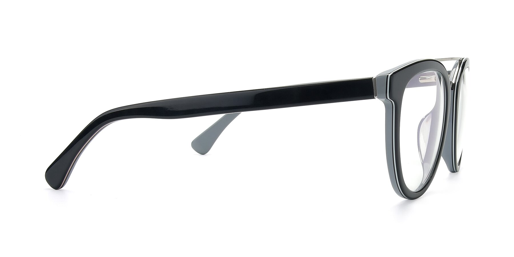 Side of 17151 in Black-Silver with Clear Eyeglass Lenses