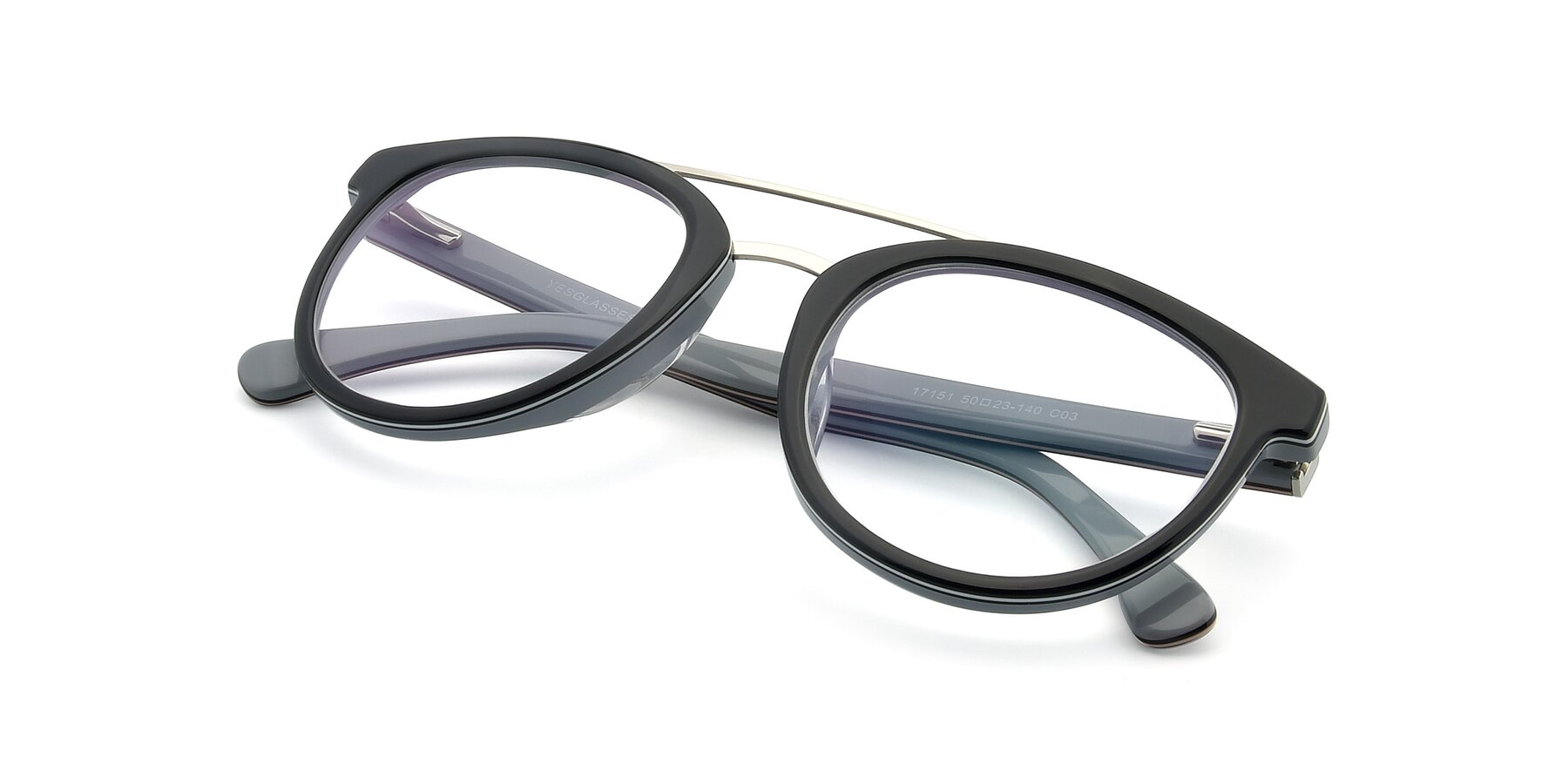 View of 17151 in Black-Silver with Clear Eyeglass Lenses
