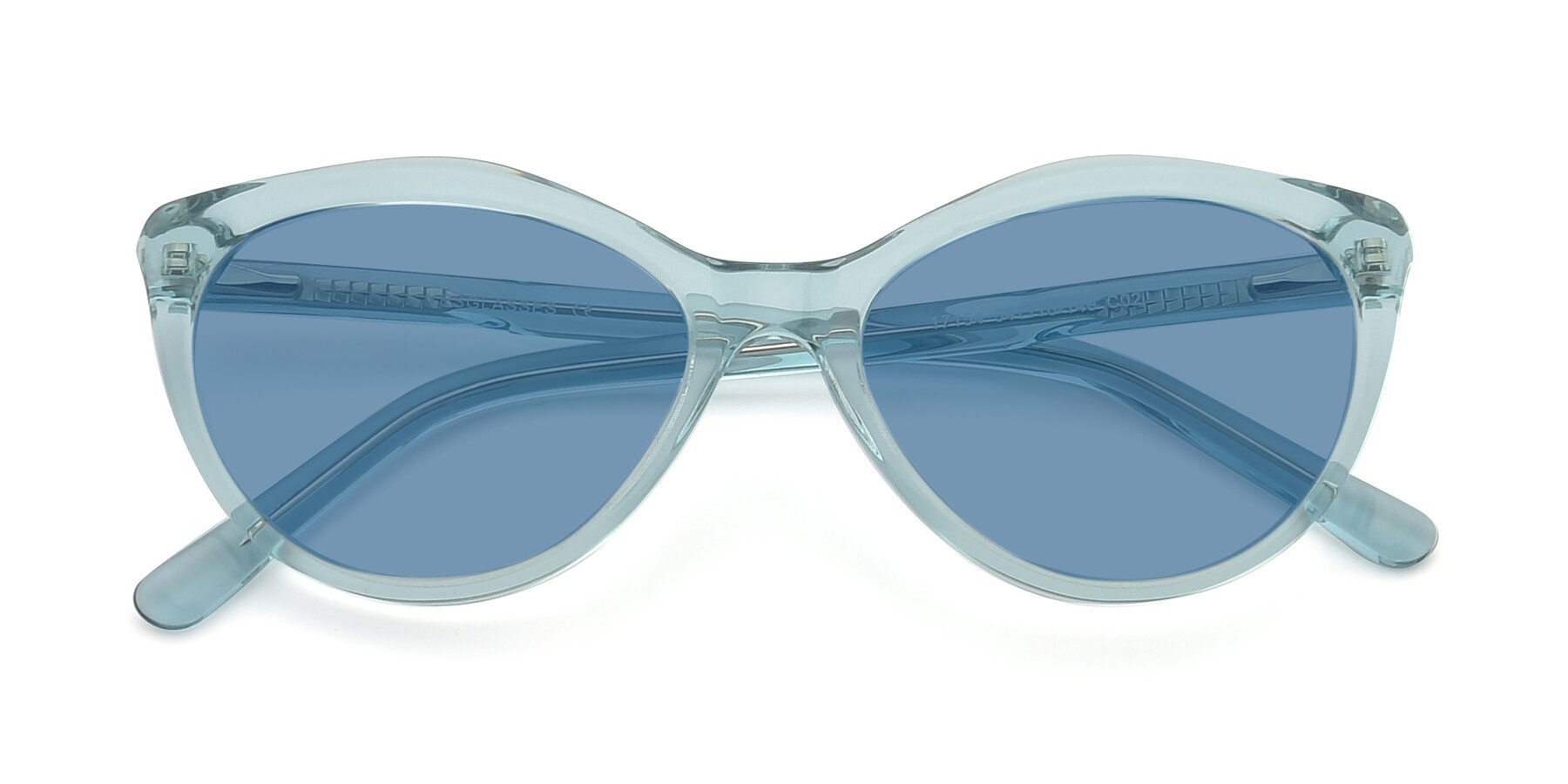 Folded Front of 17154 in Transparent Green with Medium Blue Tinted Lenses