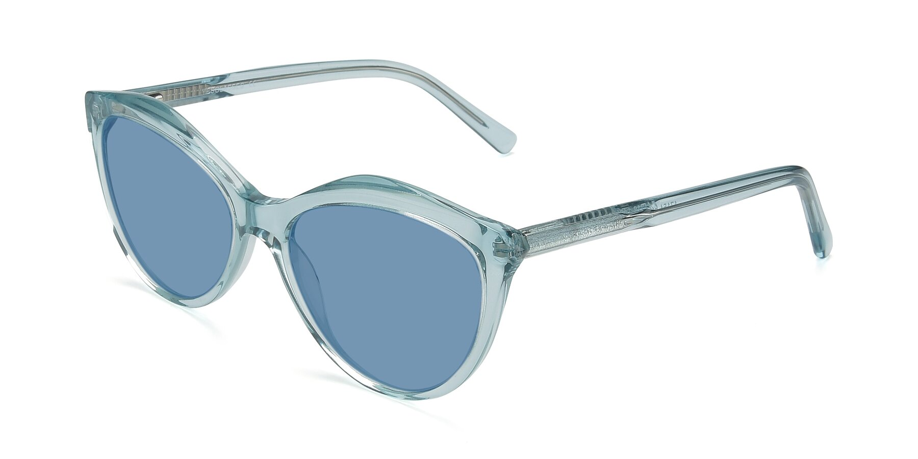 Angle of 17154 in Transparent Green with Medium Blue Tinted Lenses