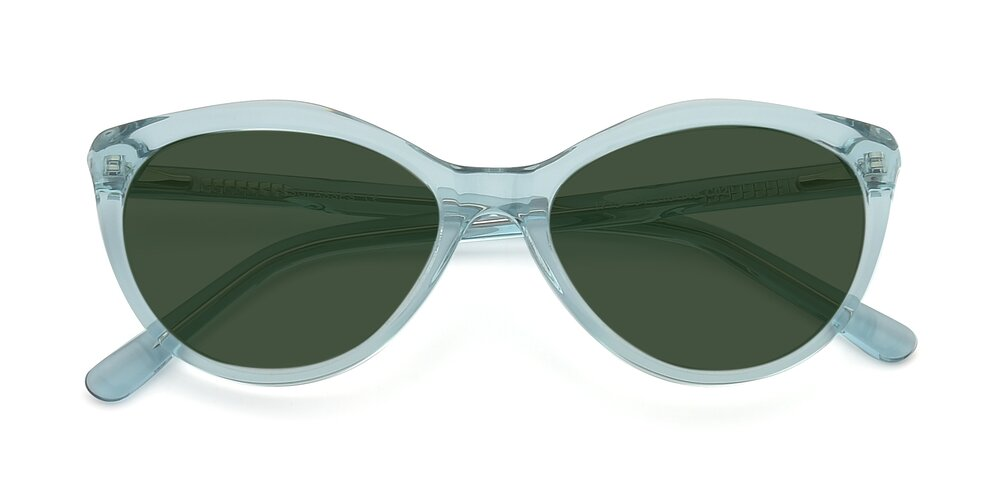 Transparent Green Narrow Hipster Cat-Eye Tinted Sunglasses With Green Sunwear Lenses