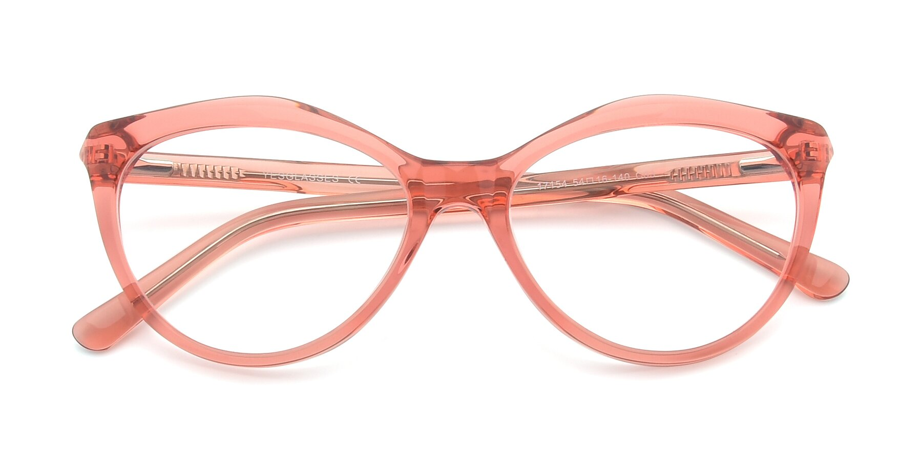 Folded Front of 17154 in Transparent Red with Clear Eyeglass Lenses