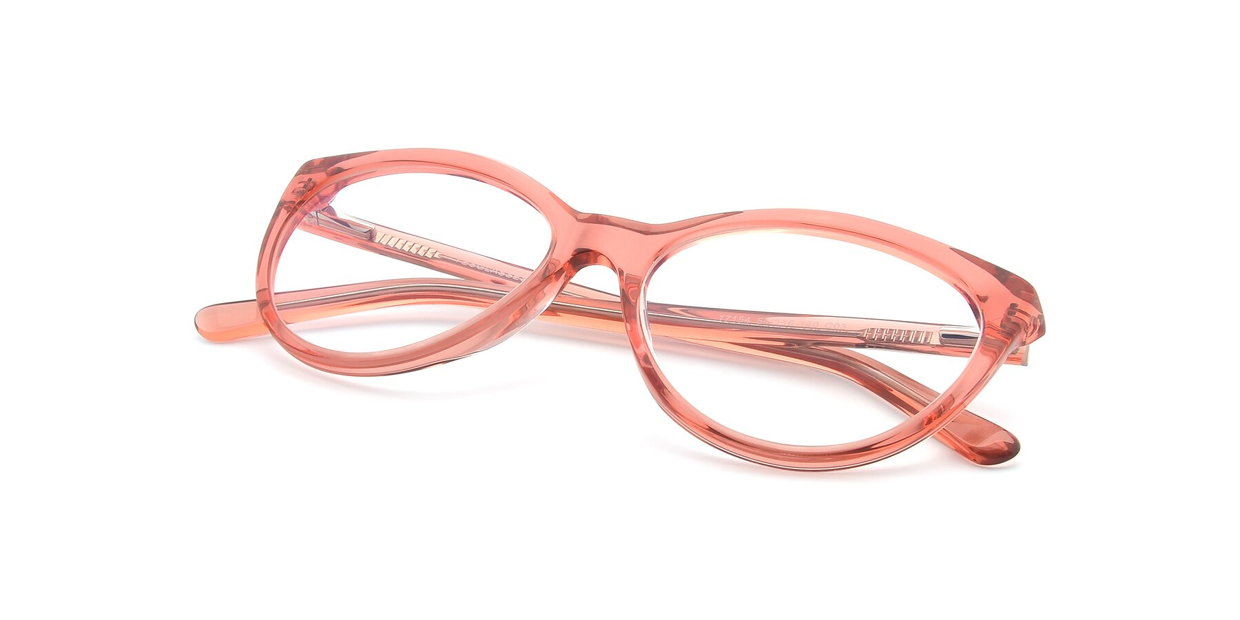 View of 17154 in Transparent Red with Clear Eyeglass Lenses