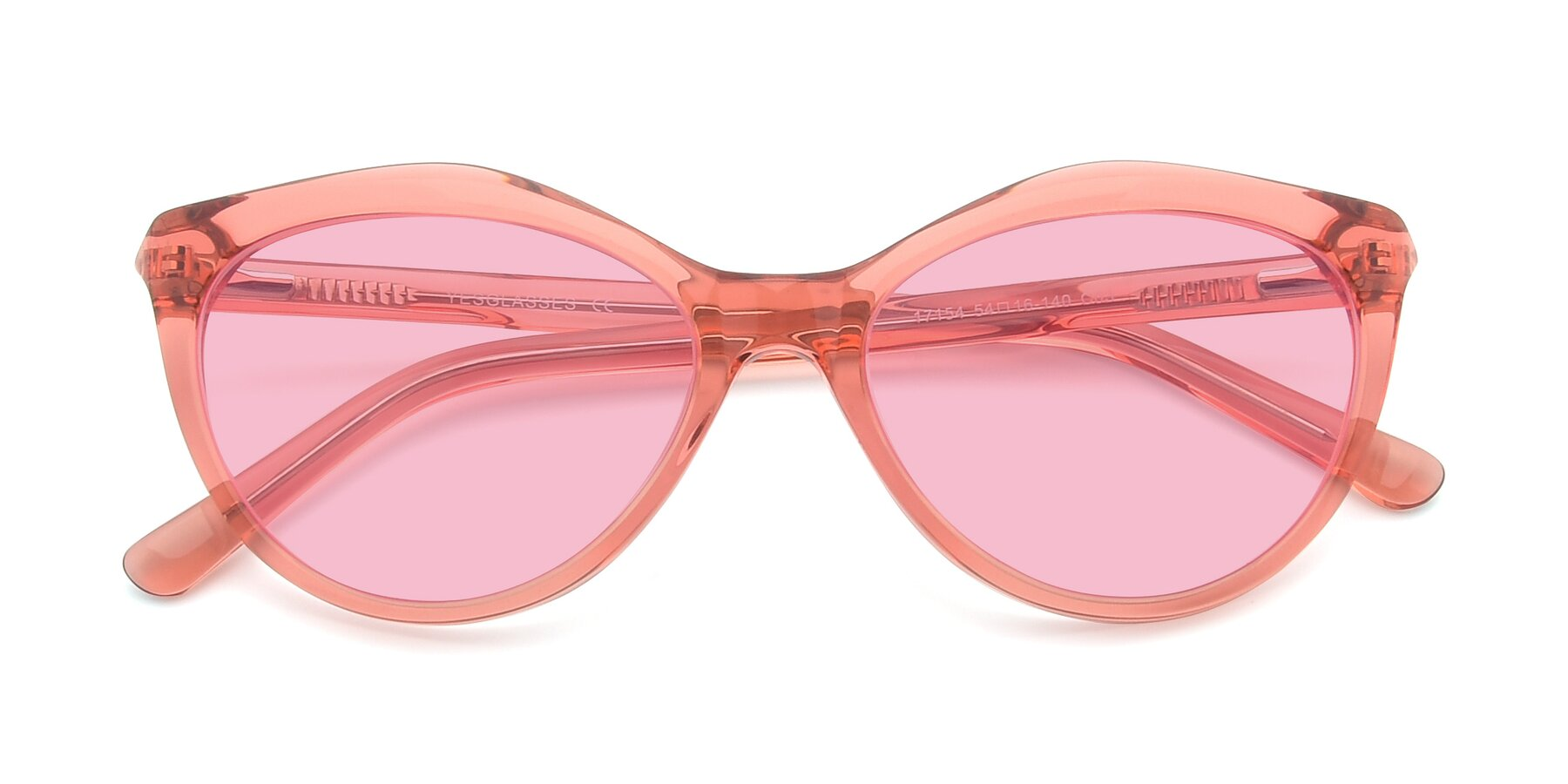 Folded Front of 17154 in Transparent Red with Medium Pink Tinted Lenses