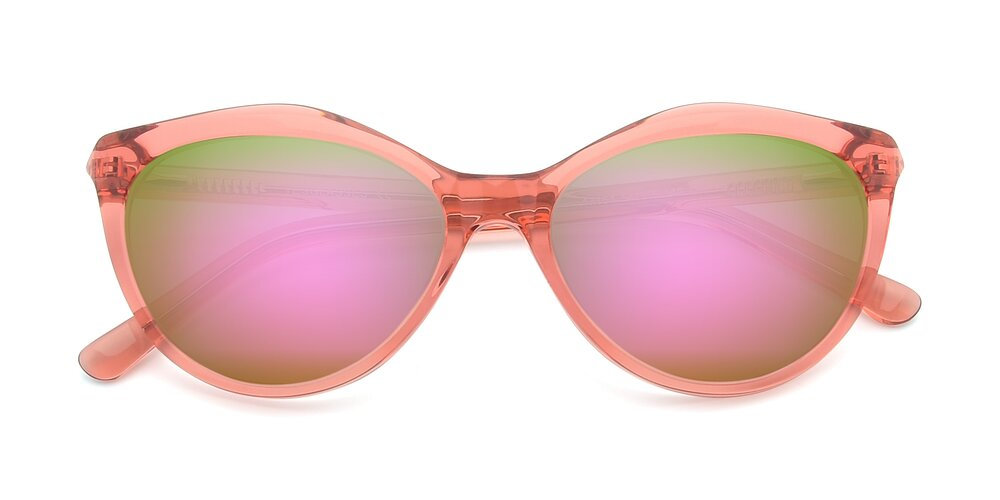 Transparent Red Narrow Hipster Cat-Eye Mirrored Sunglasses With Pink Sunwear Lenses